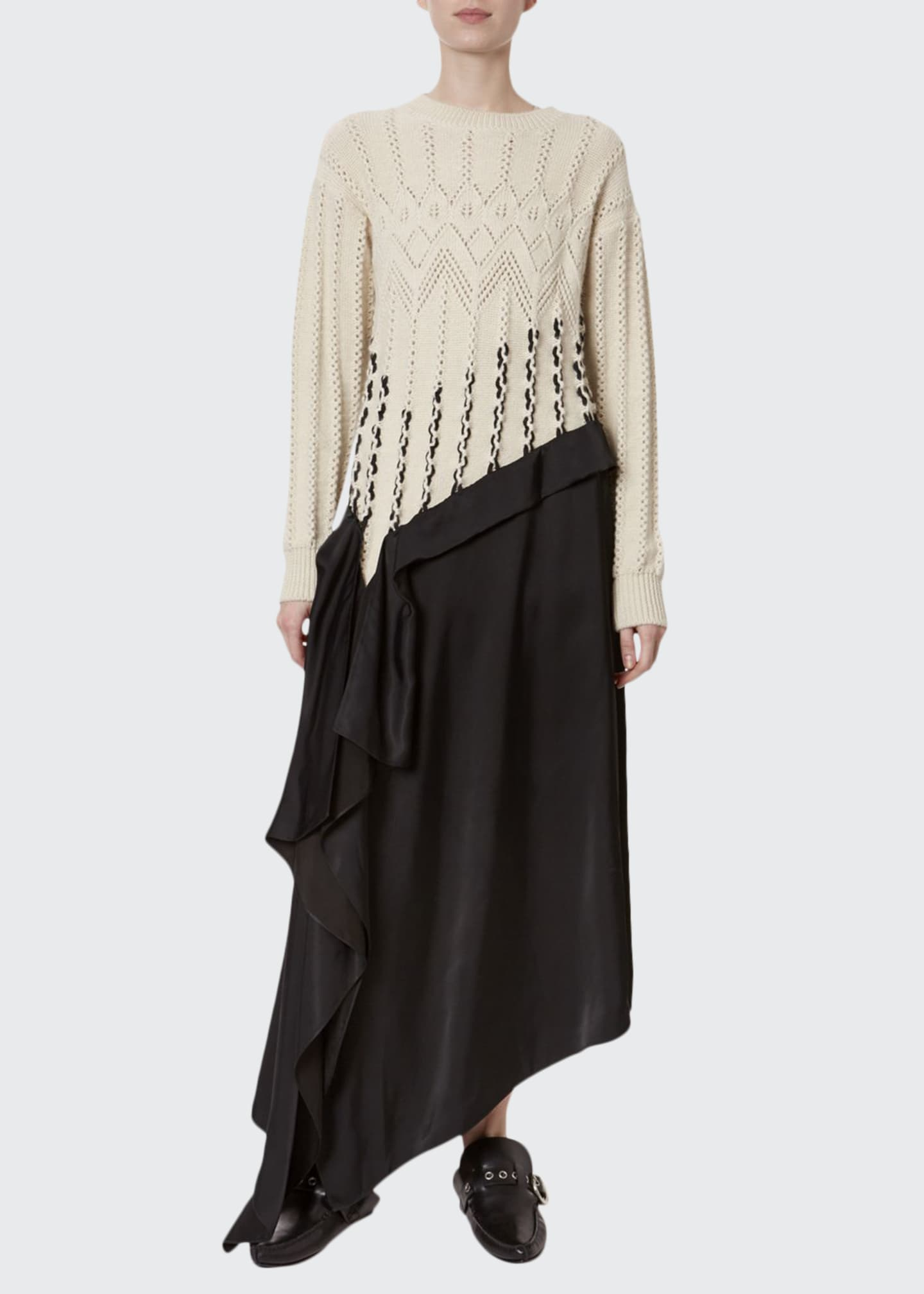 Loewe Satin-Hem Cable-Knit Dress