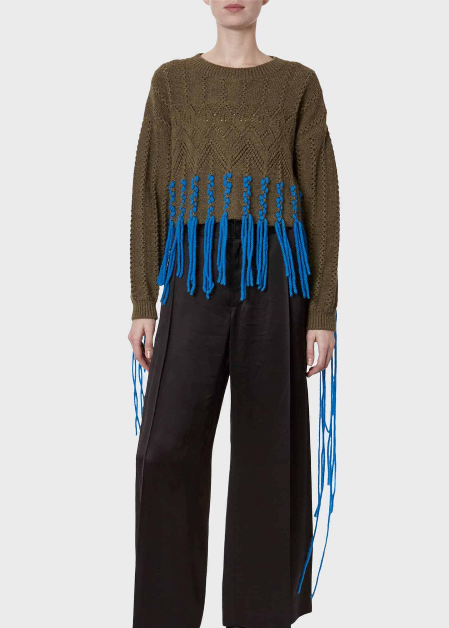 Loewe Two-Tone Fringed Crop Sweater