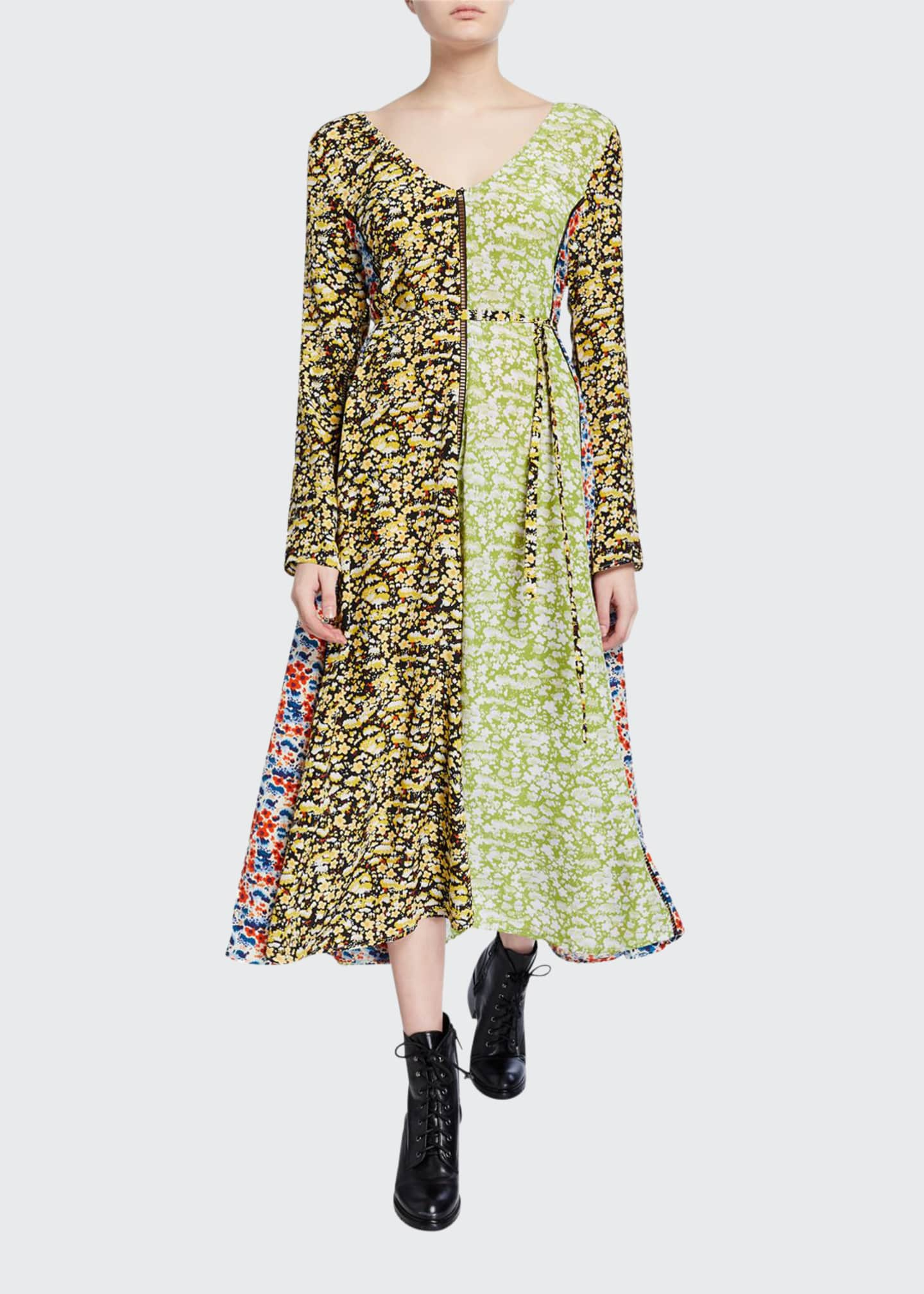 Image 1 of 2: Maca Paneled Floral Long-Sleeve Dress