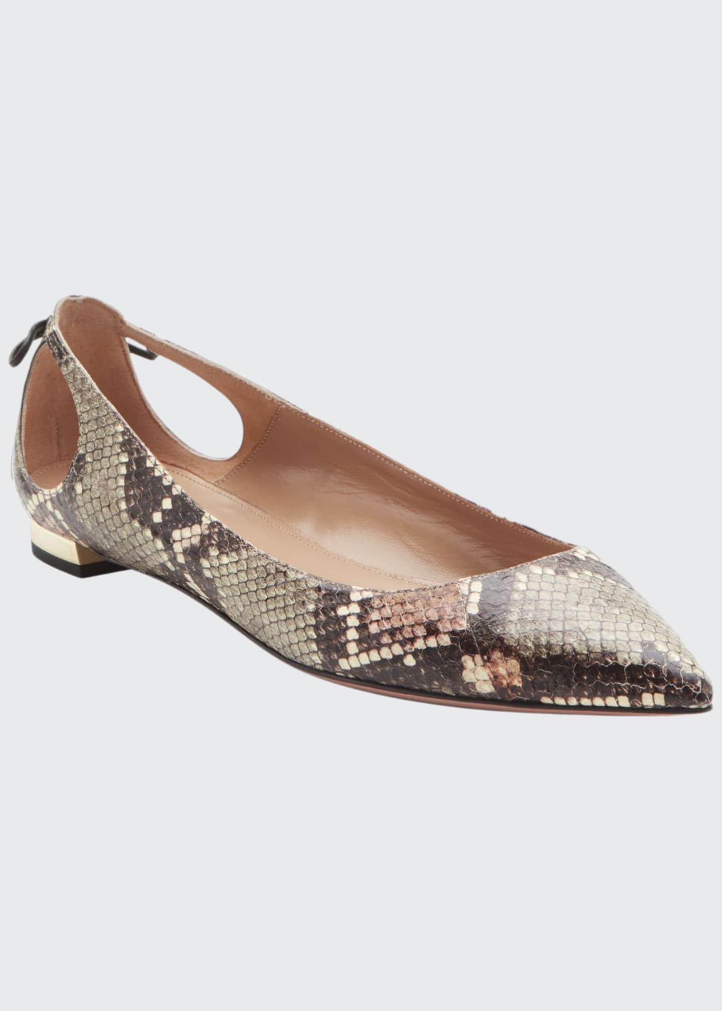 Aquazzura Forever Marilyn Snakeskin Ballet Flats