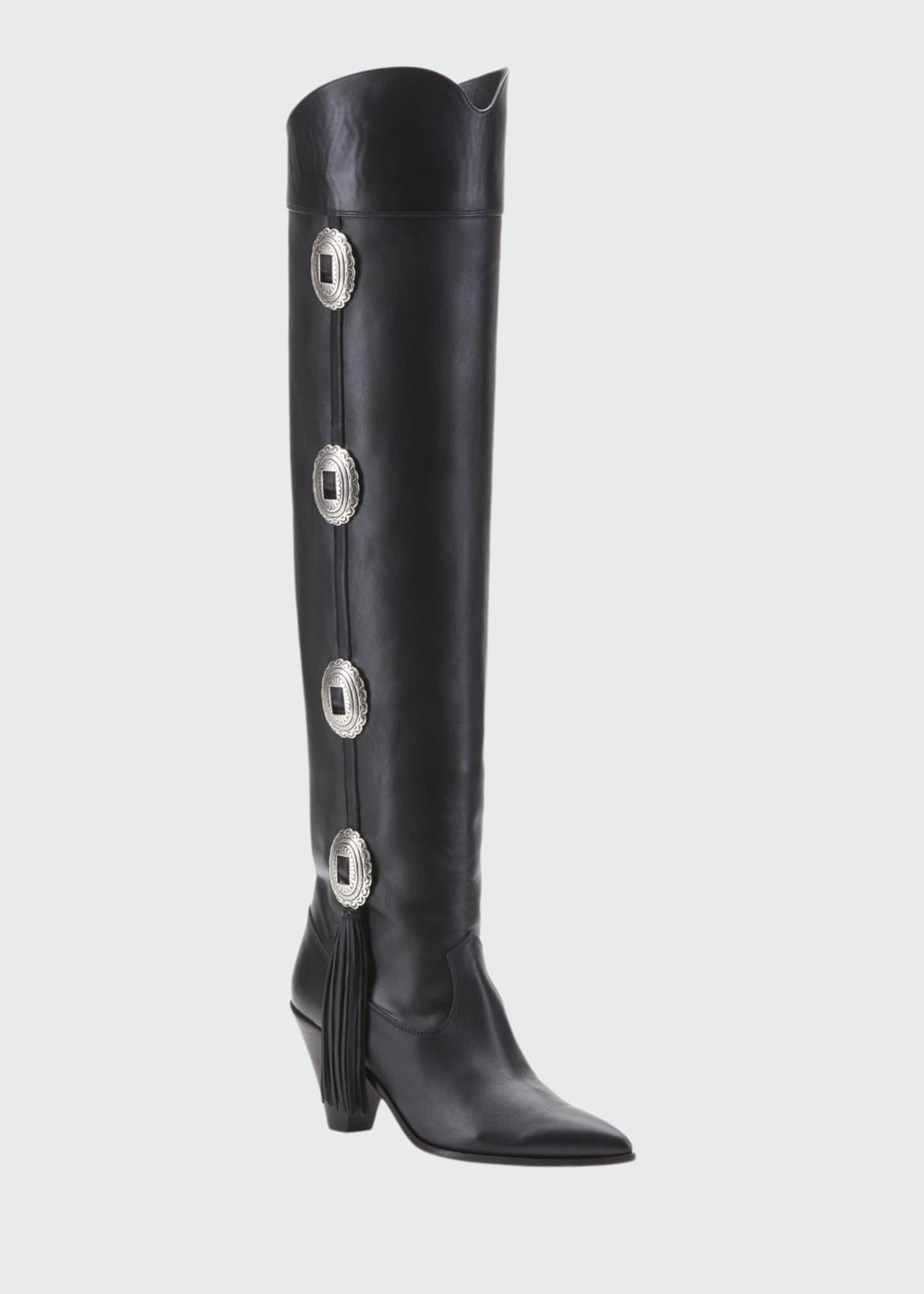 Aquazzura Go West Concho Fringe Knee Boots