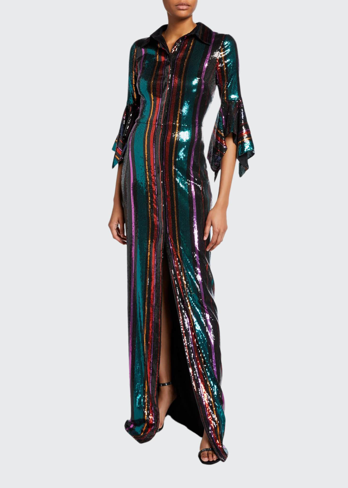 Badgley Mischka Collection Disco Stripe Sequin Column Gown