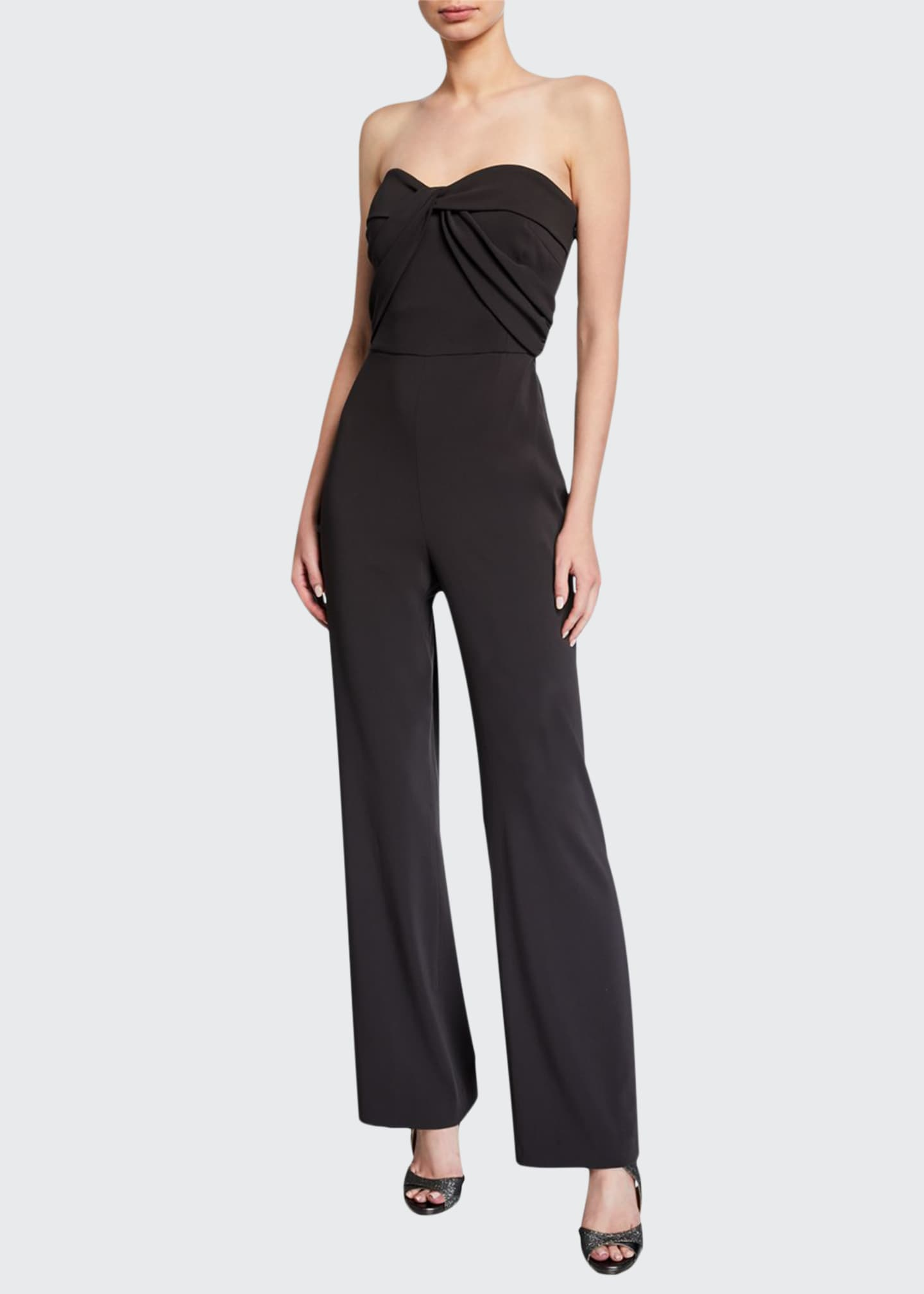 Image 1 of 2: Strapless Bow-Front Crepe Jumpsuit