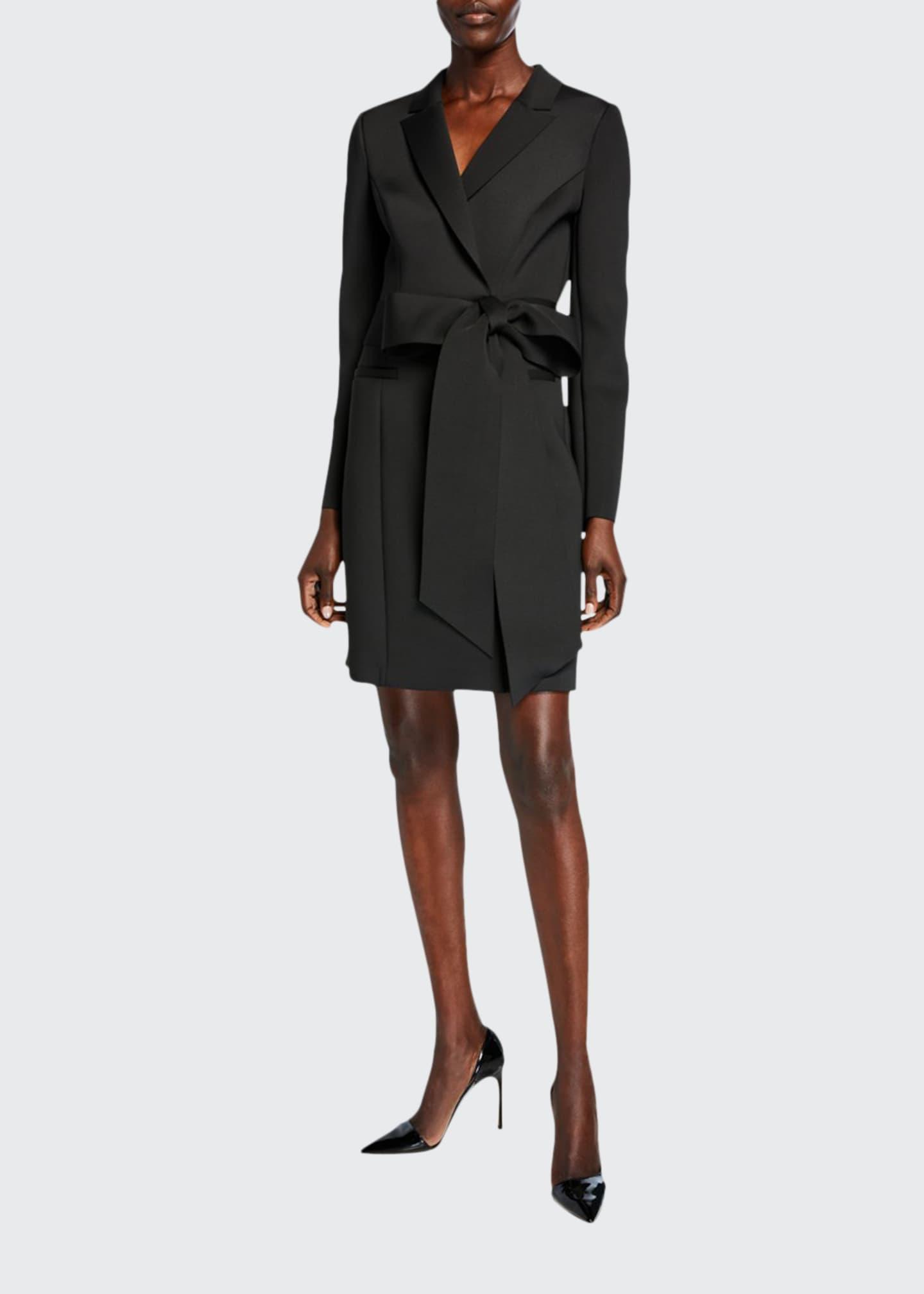 Badgley Mischka Collection Scuba Bow-Waist Long-Sleeve Coat Dress