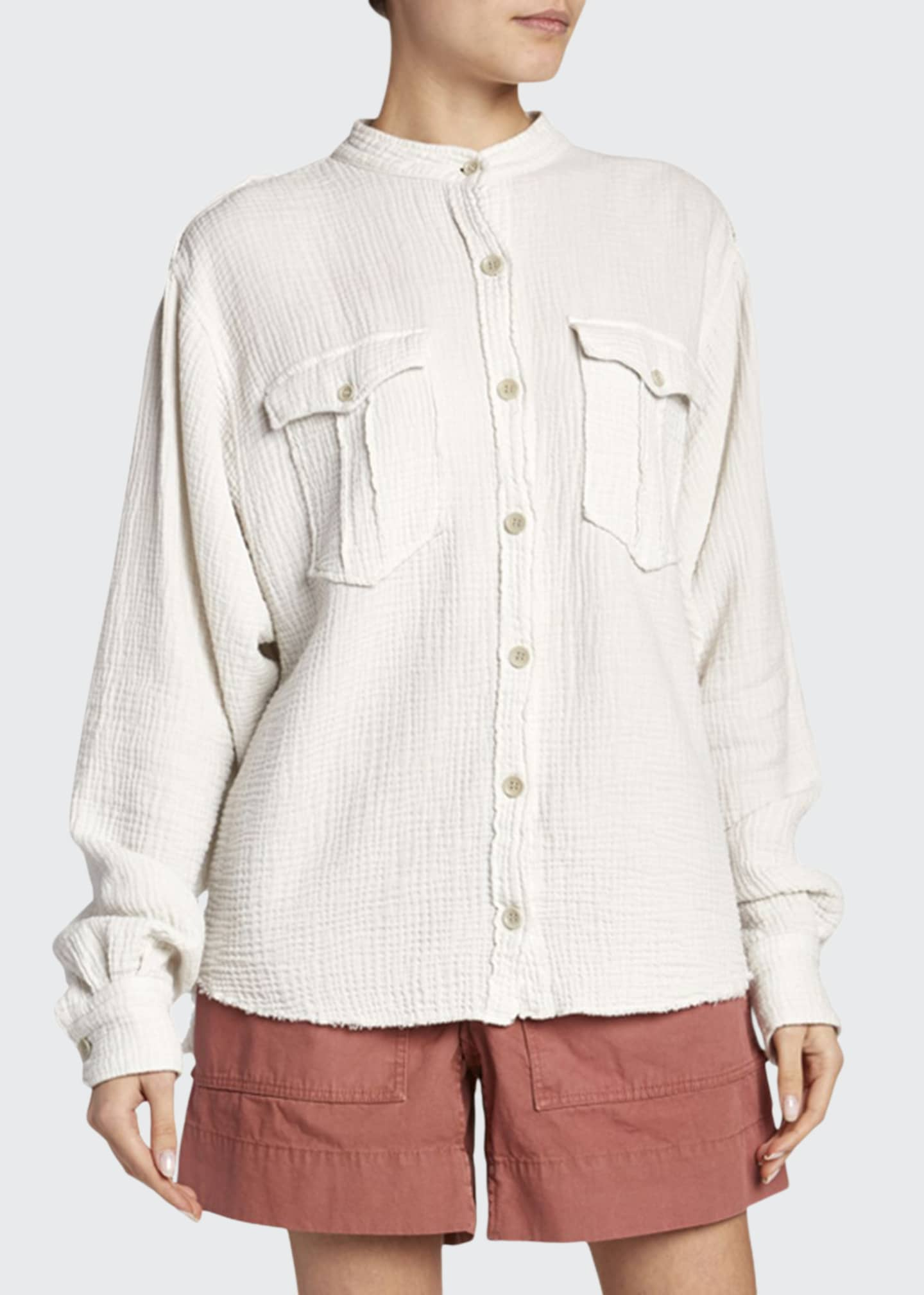 Etoile Isabel Marant Jepson Cotton Band-Collar Button-Down Top