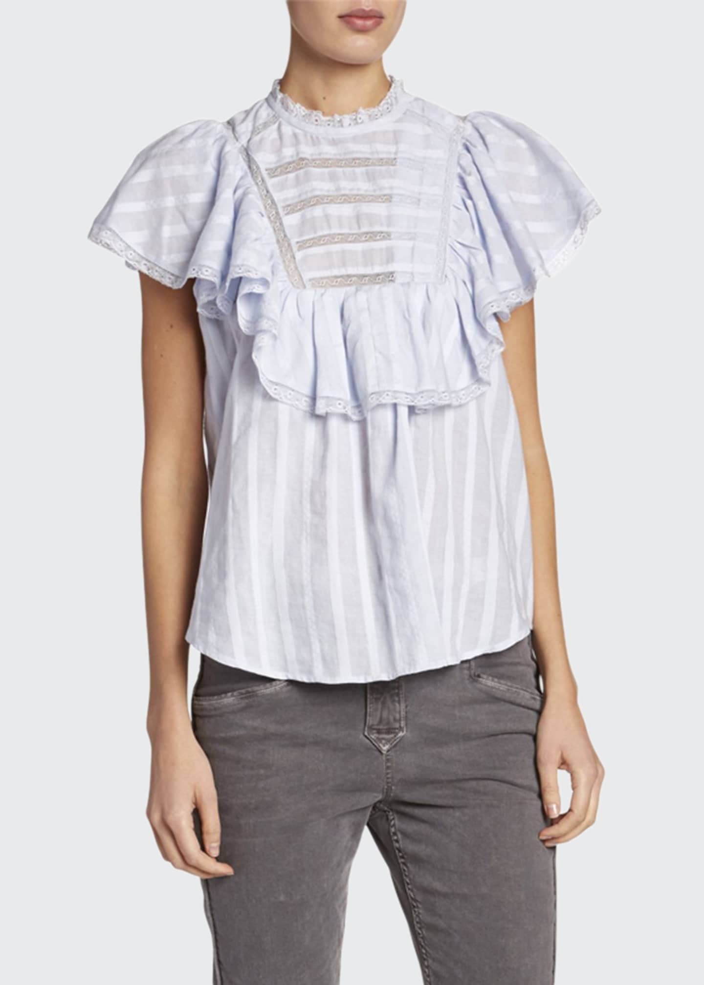 Etoile Isabel Marant Pleyel Flutter-Sleeve Poplin Cotton