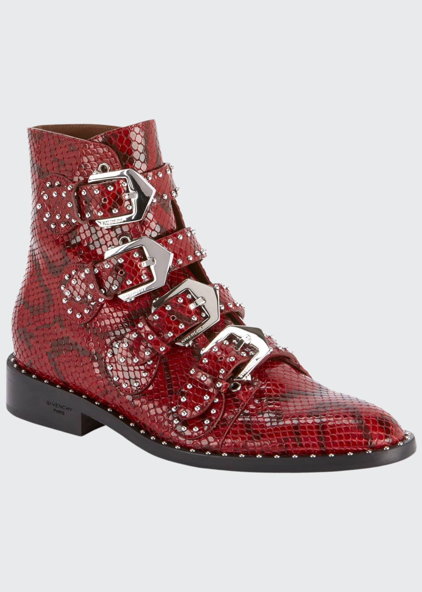 Givenchy Elegant Studded Python-Print Booties