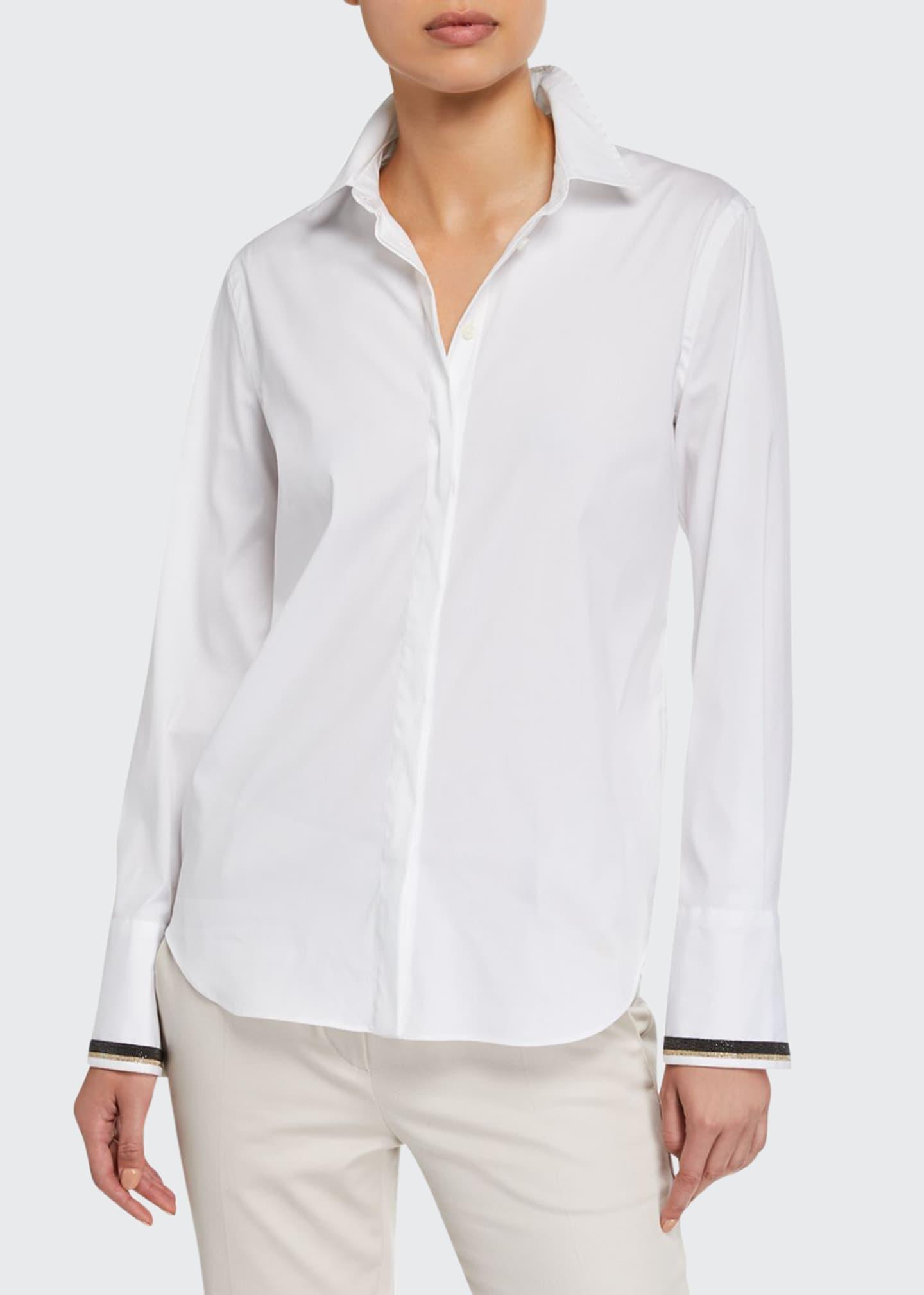 Brunello Cucinelli Monili-Cuffed Poplin Button-Front Shirt