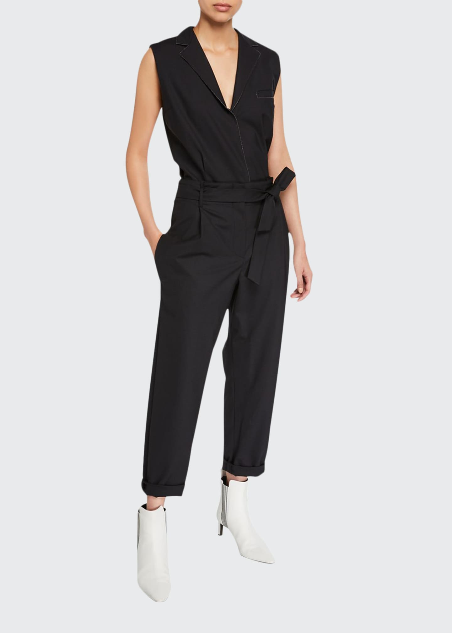 Brunello Cucinelli Monili-Beaded Wool Jumpsuit
