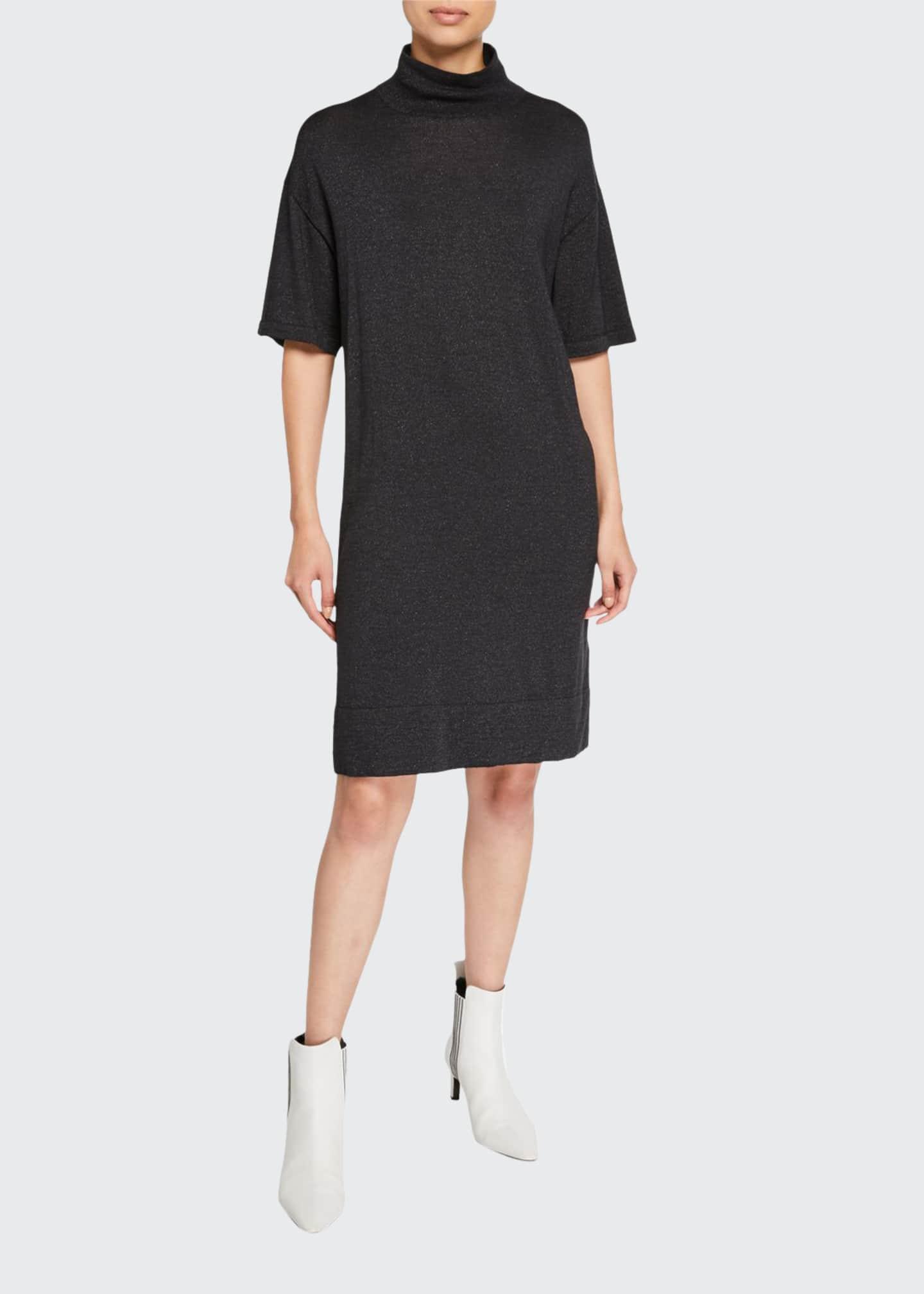 Brunello Cucinelli Shimmer Cashmere-Silk Mock-Neck Dress