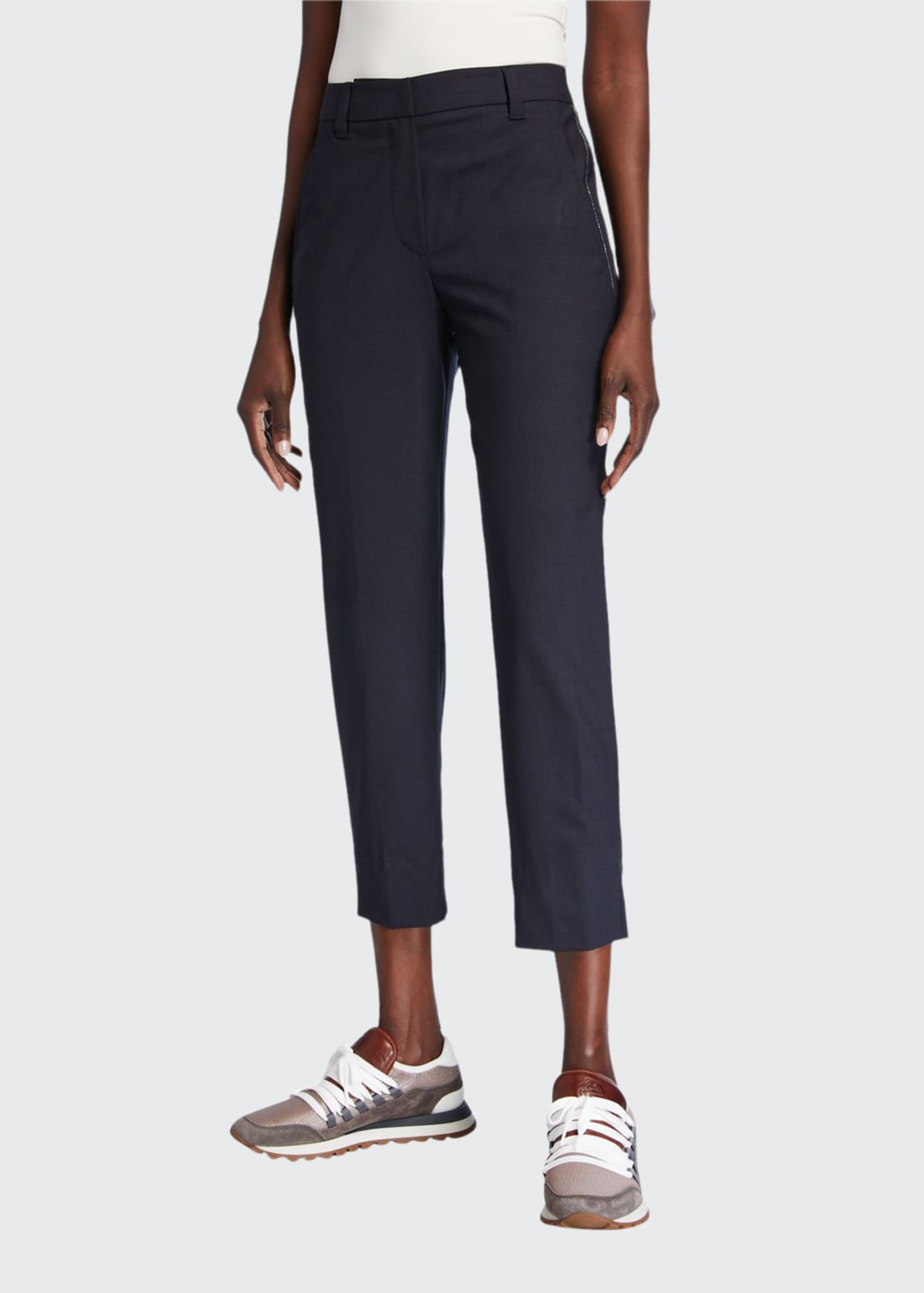 Brunello Cucinelli Monili Seamed Tropical Wool Trousers