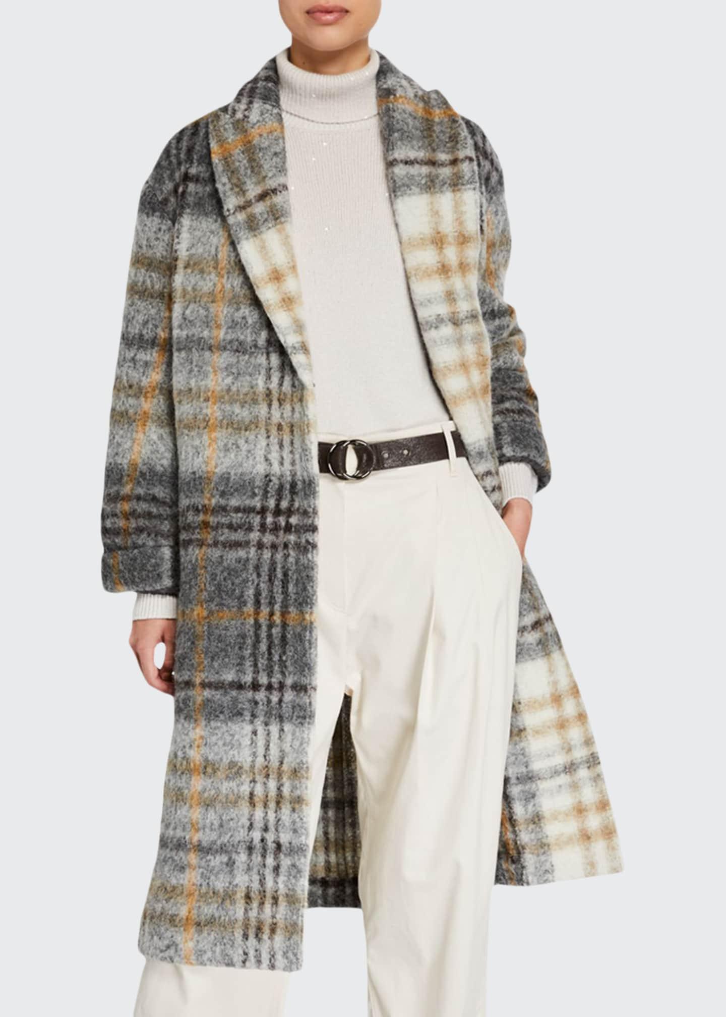 Brunello Cucinelli Check Felted Alpaca Coat