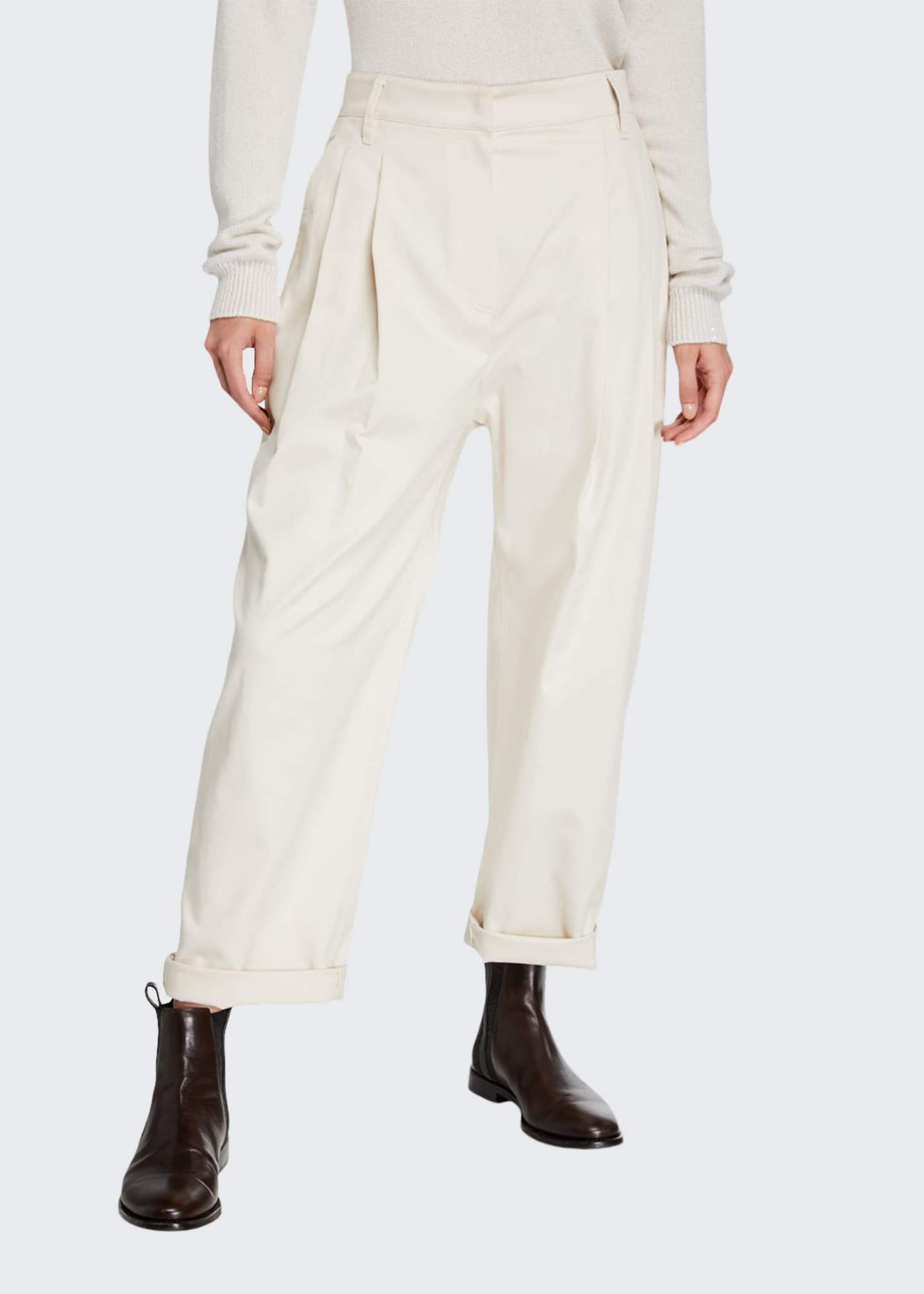 Brunello Cucinelli Baggy Cotton Twill Pants