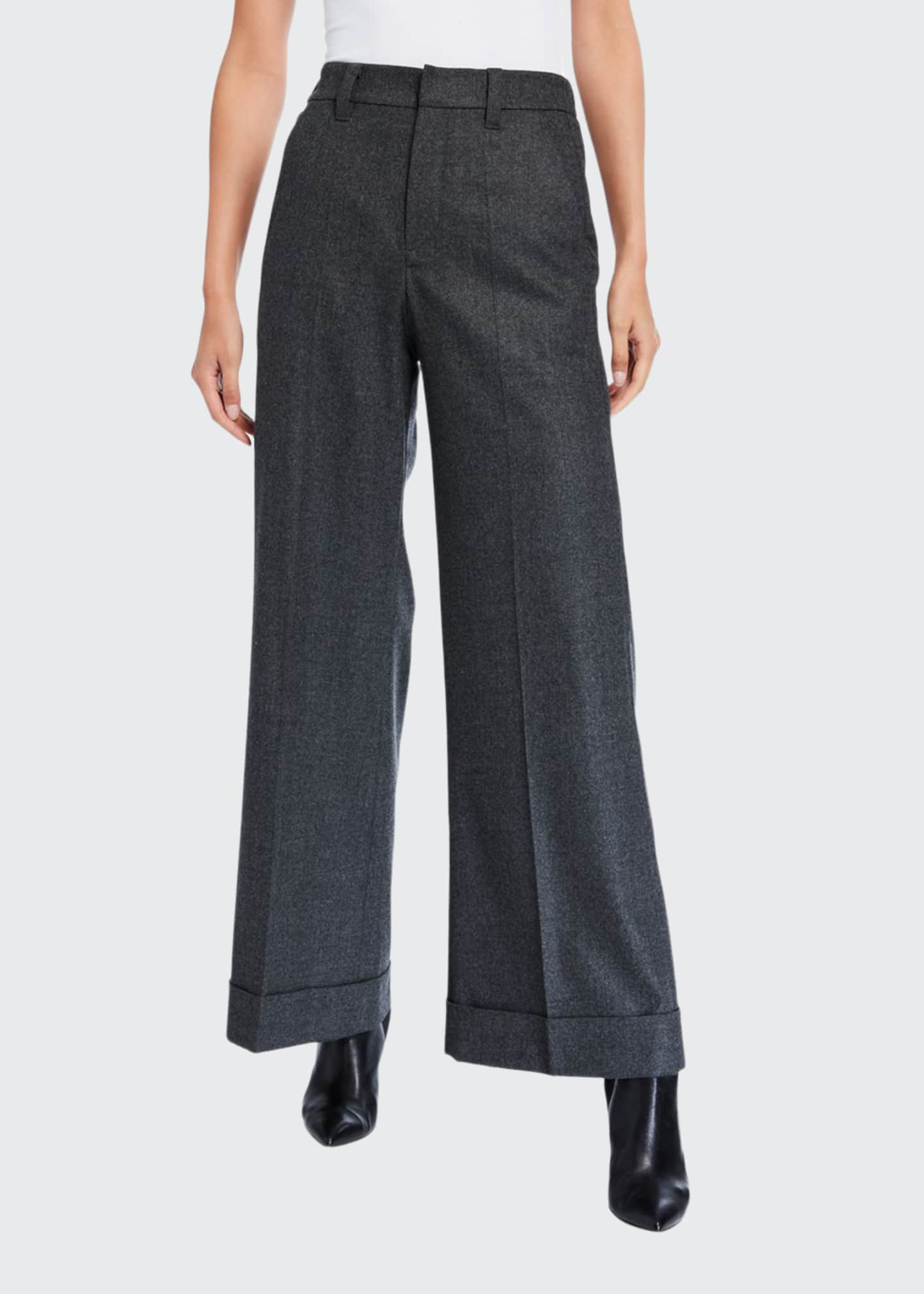 Brunello Cucinelli Flannel Wide-Leg Trousers