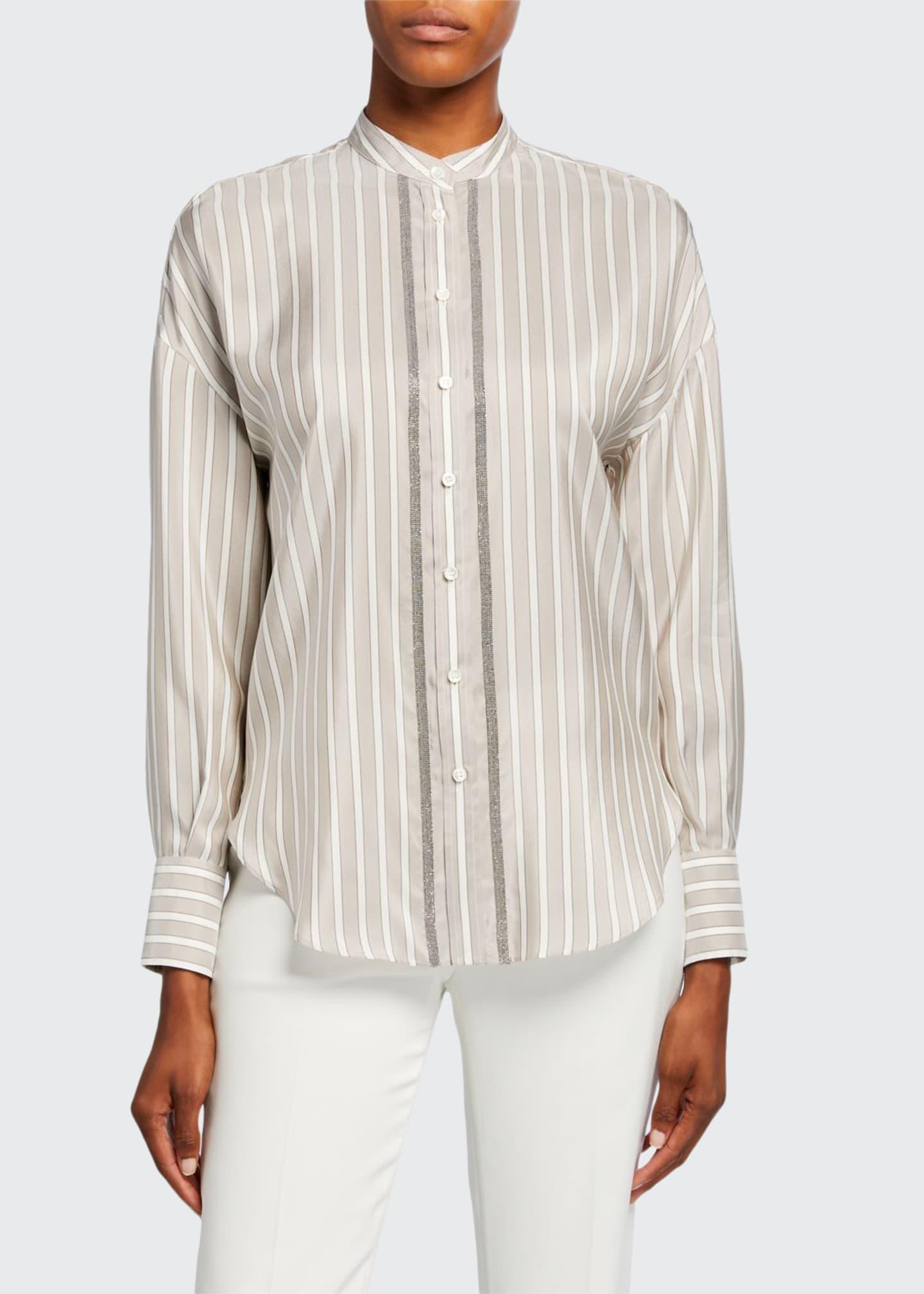 Brunello Cucinelli Striped Silk Monili-Placket Shirt