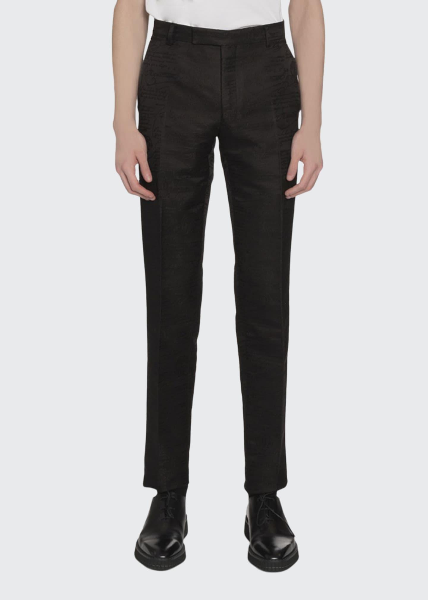 Berluti Men's Wool-Blend Scritto Jacquard Tapered Pants