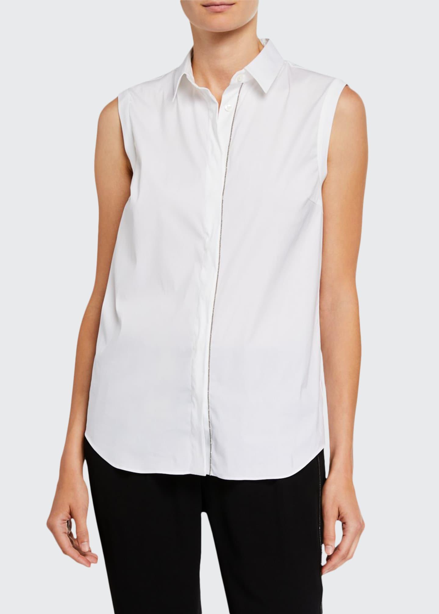 Brunello Cucinelli Monili-Beaded Sleeveless Poplin Shirt