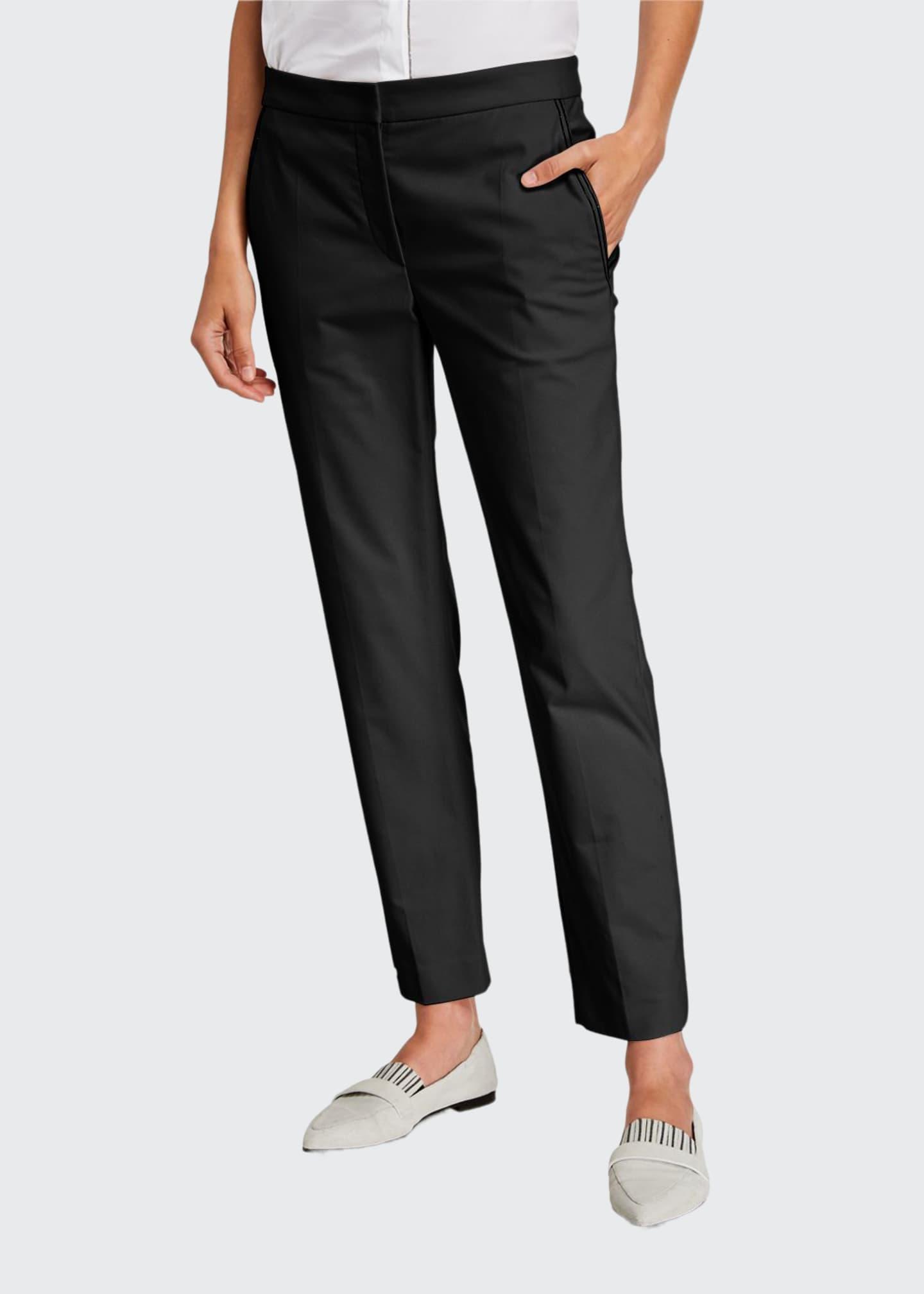 Brunello Cucinelli Monili-Beaded Straight-Leg Cotton Pants