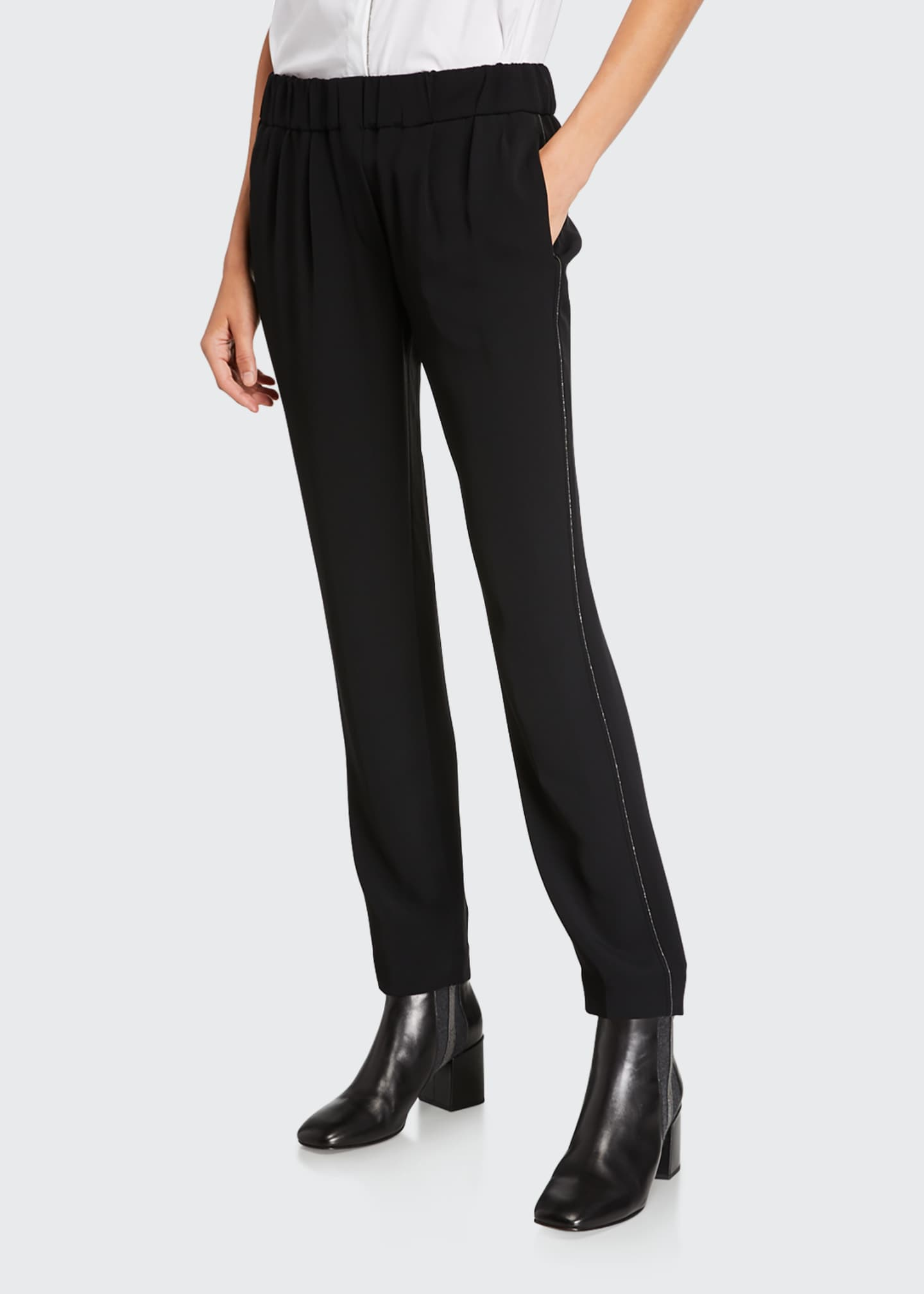 Brunello Cucinelli Crepe Pull-On Pants with Monili Side