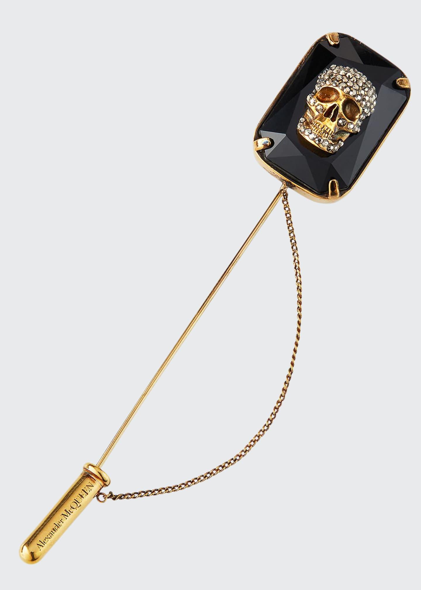 Alexander McQueen Men's Jeweled Skull Lapel Pin