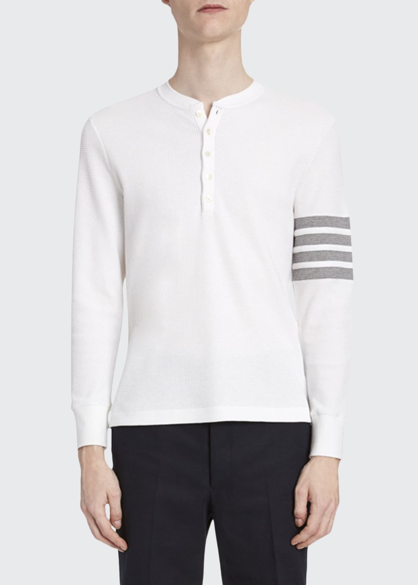 Thom Browne Men's Waffle-Knit Henley Shirt with 4-Bar