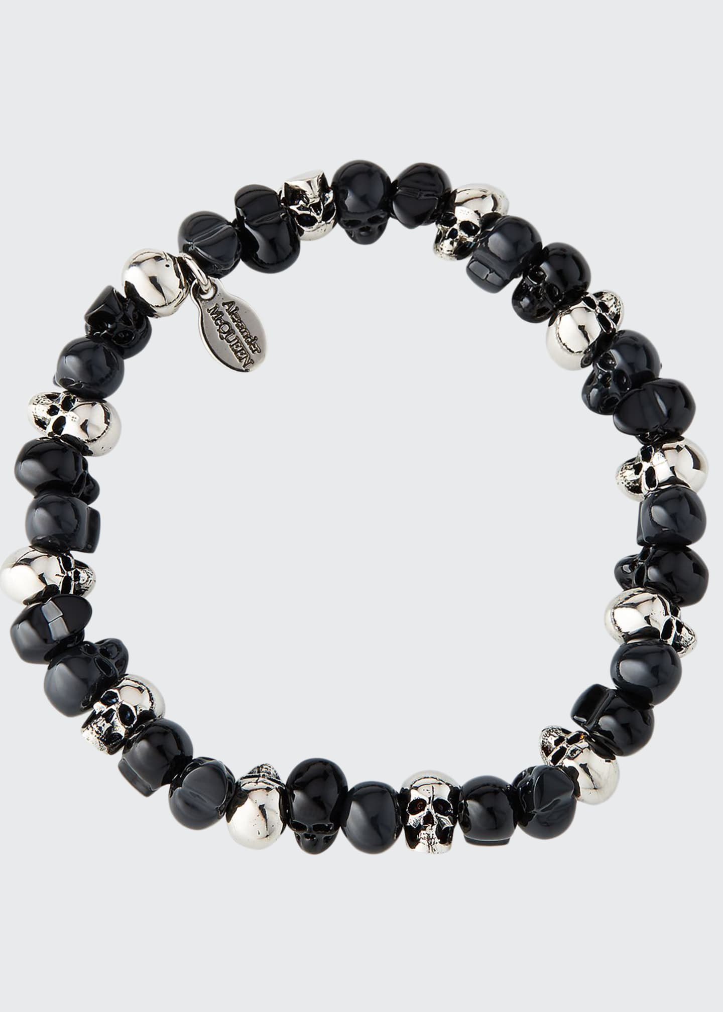 Alexander McQueen Men's Beaded Skull Stretch Bracelet