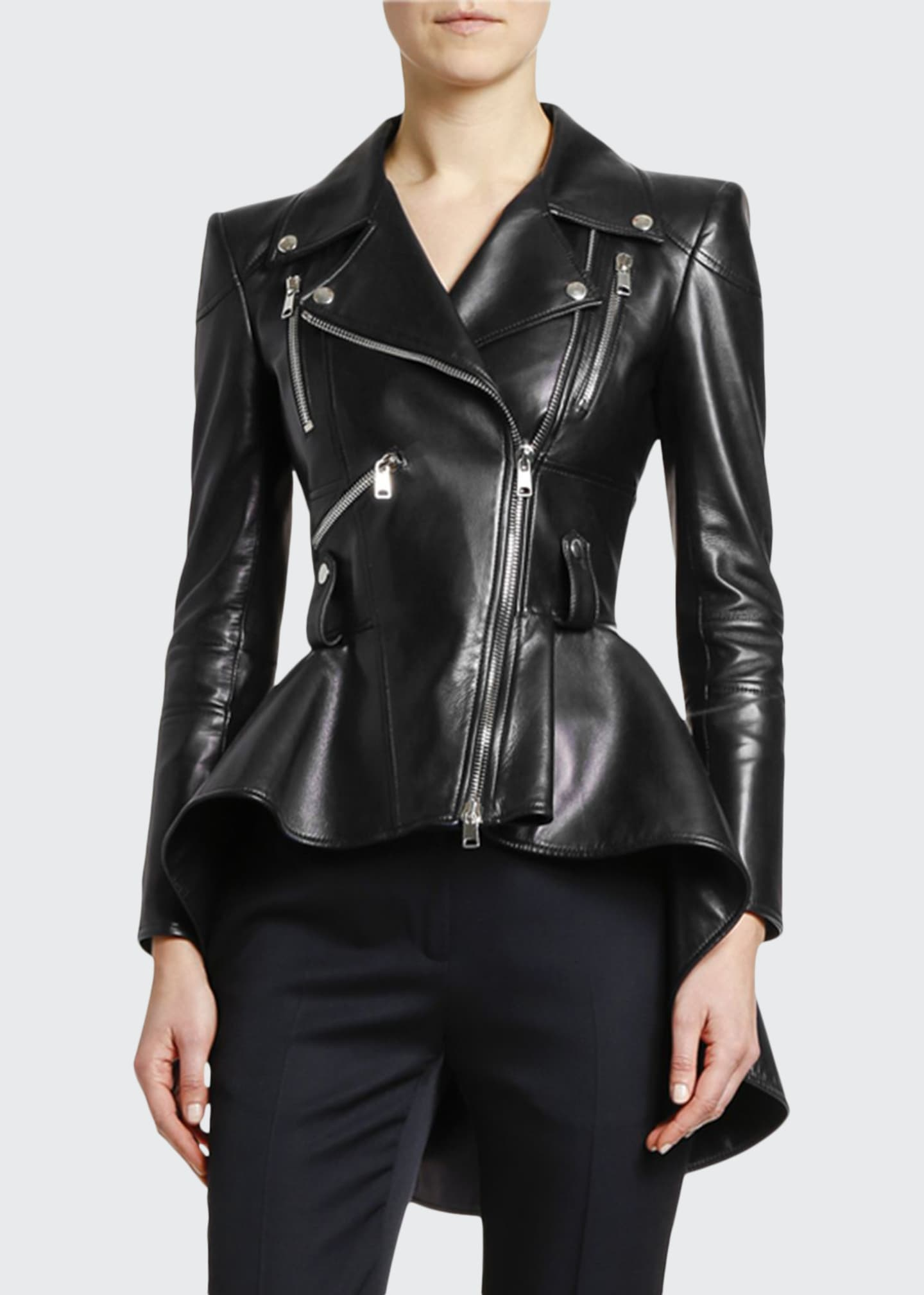 Image 1 of 3: Leather Fit & Flare Biker Jacket