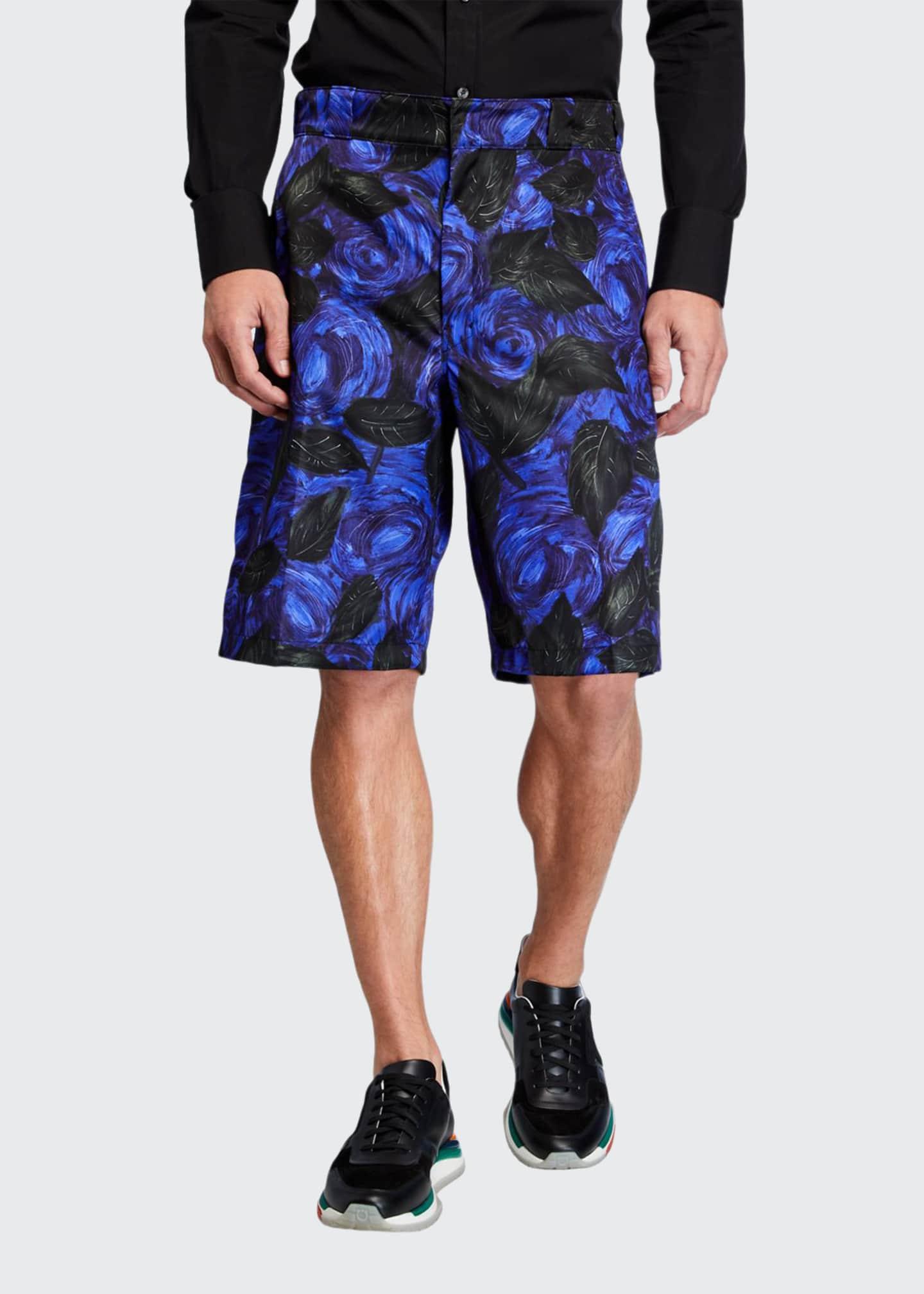 Prada Men's Gabardine Nylon Foliage Shorts