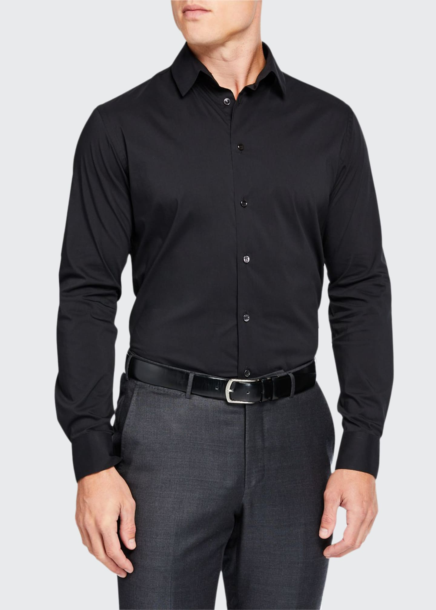 Image 1 of 2: Men's Solid Long-Sleeve Sport Shirt