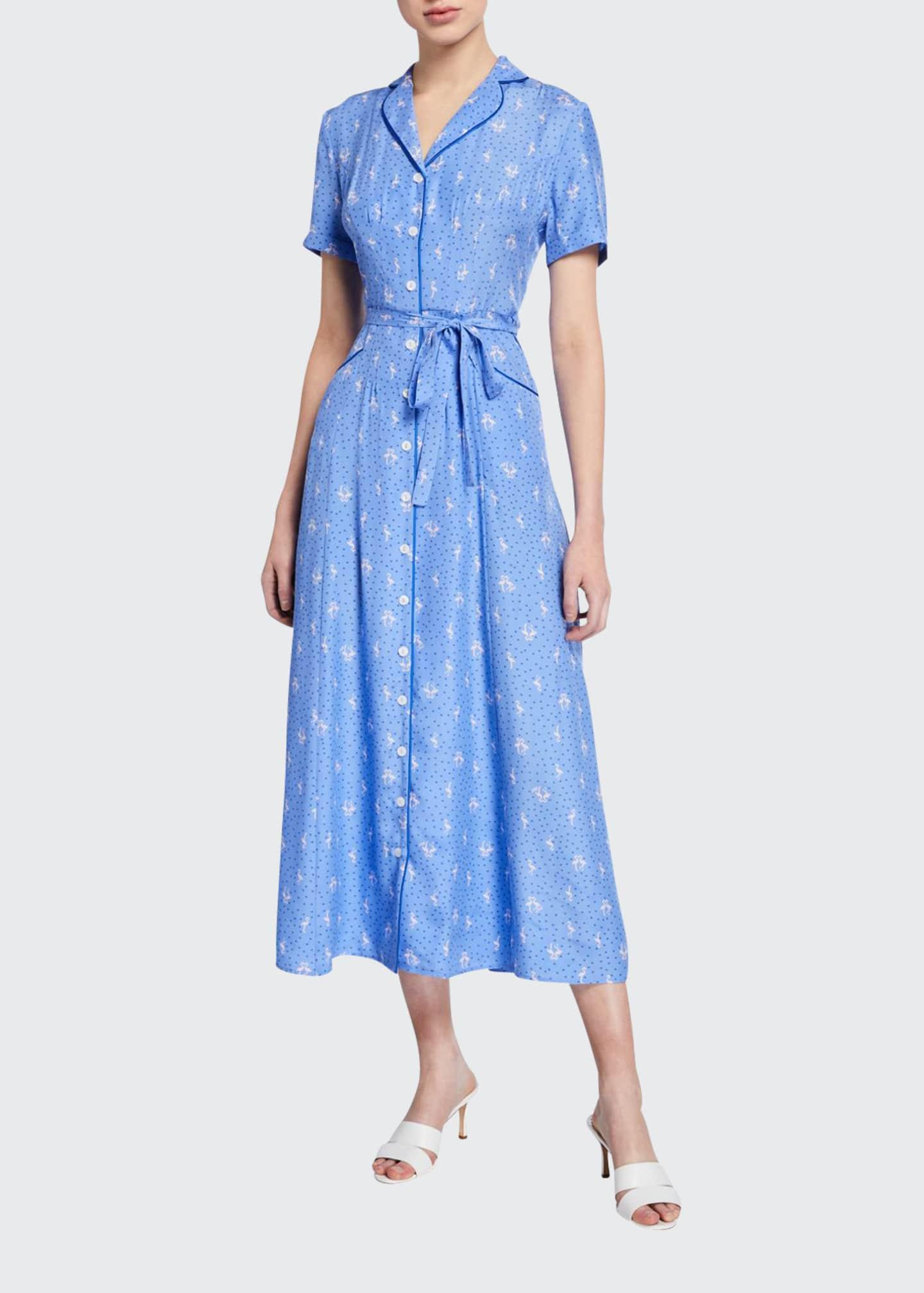 HVN Long Maria Flamingo-Print Button-Down Dress
