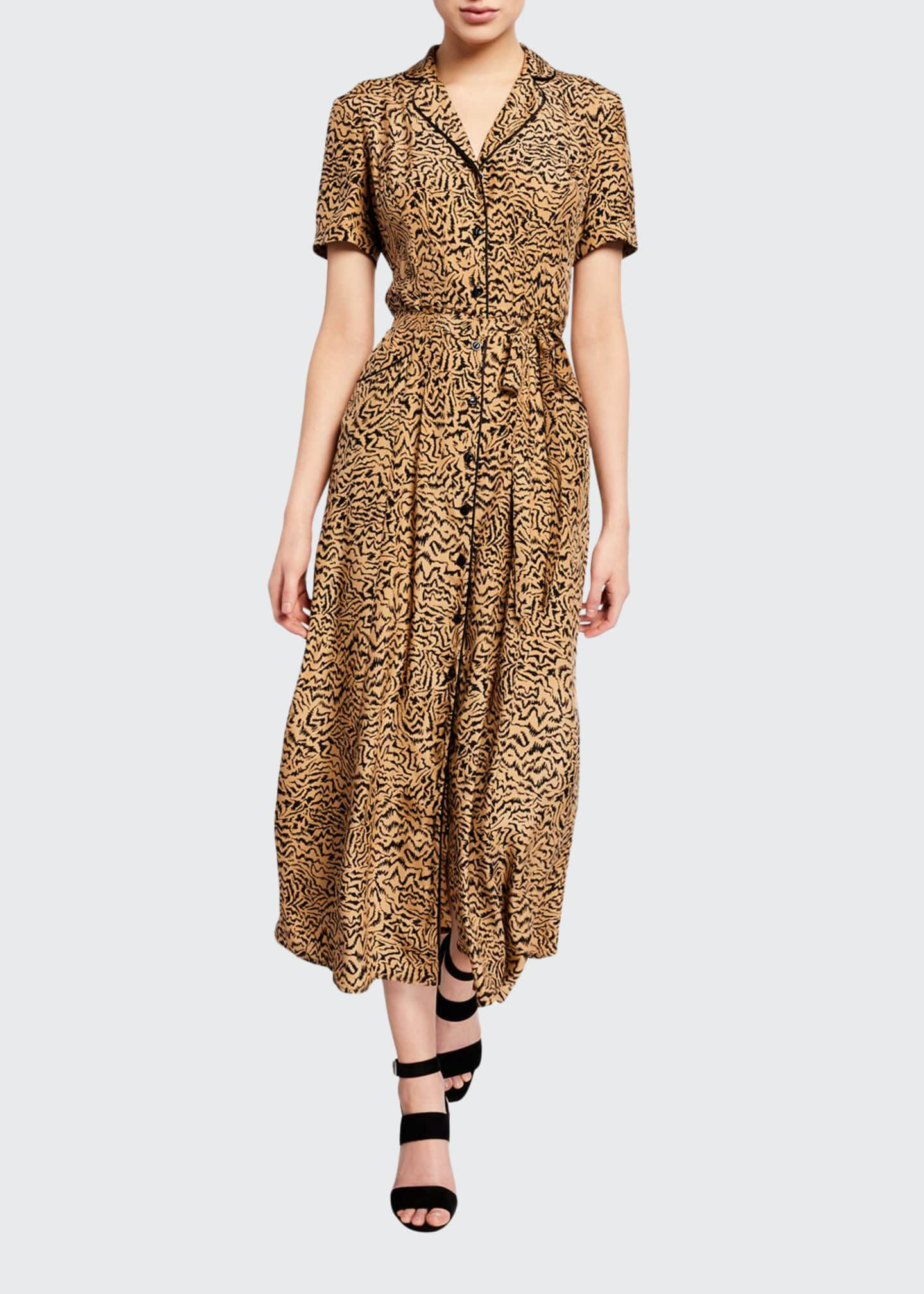 HVN Long Maria Button-Down Pajama Dress with Belt