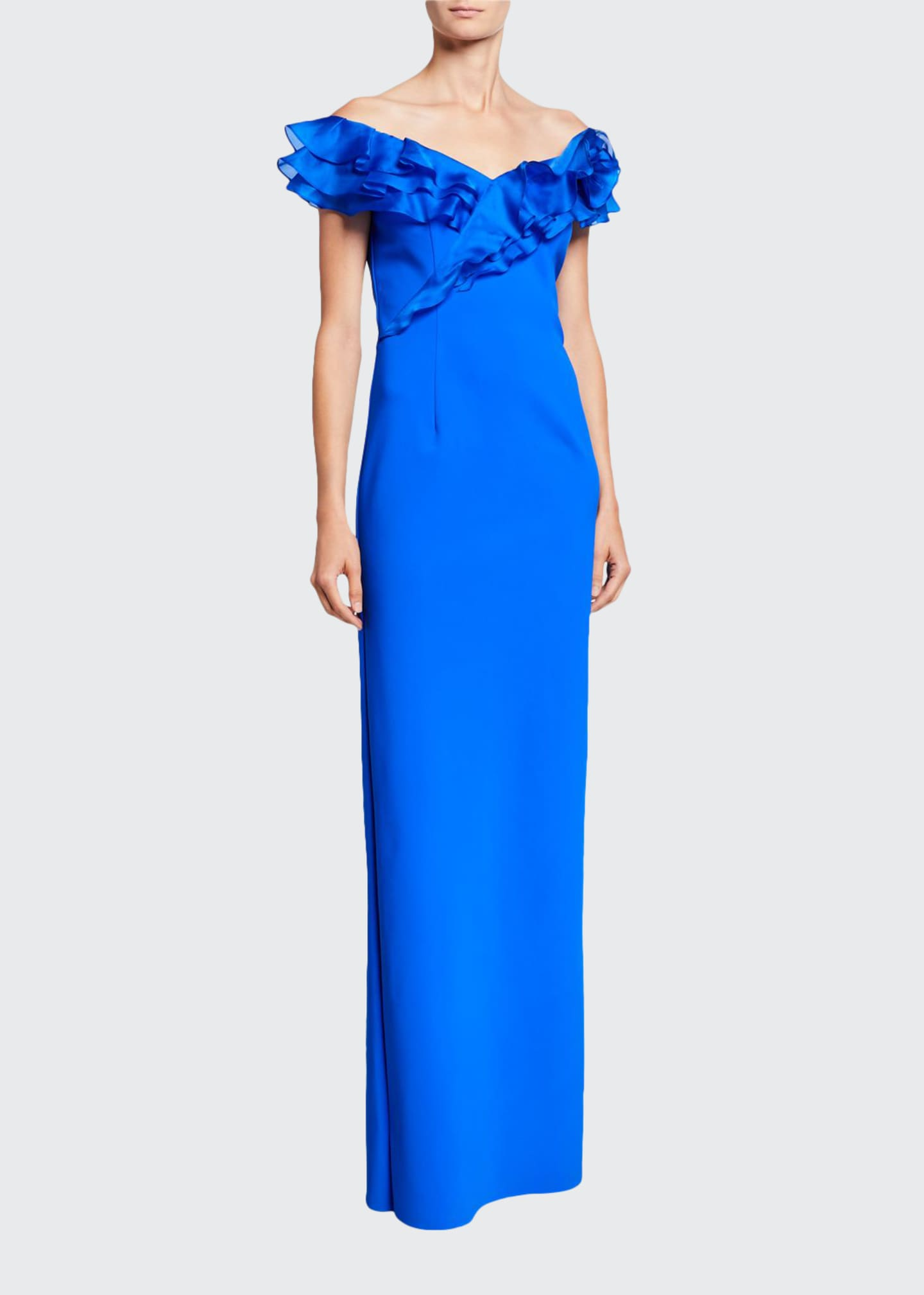 Image 1 of 2: Asymmetric Ruffle Off-Shoulder Cap-Sleeve Scuba Gown