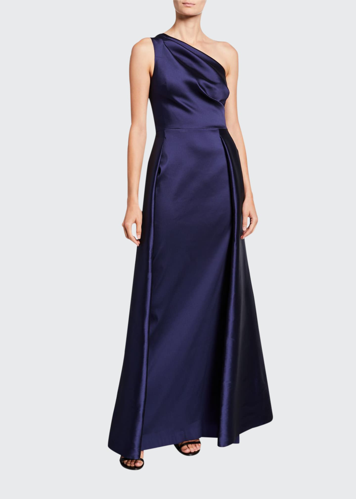 Image 1 of 2: One-Shoulder Asymmetric Gazaar A-Line Gown