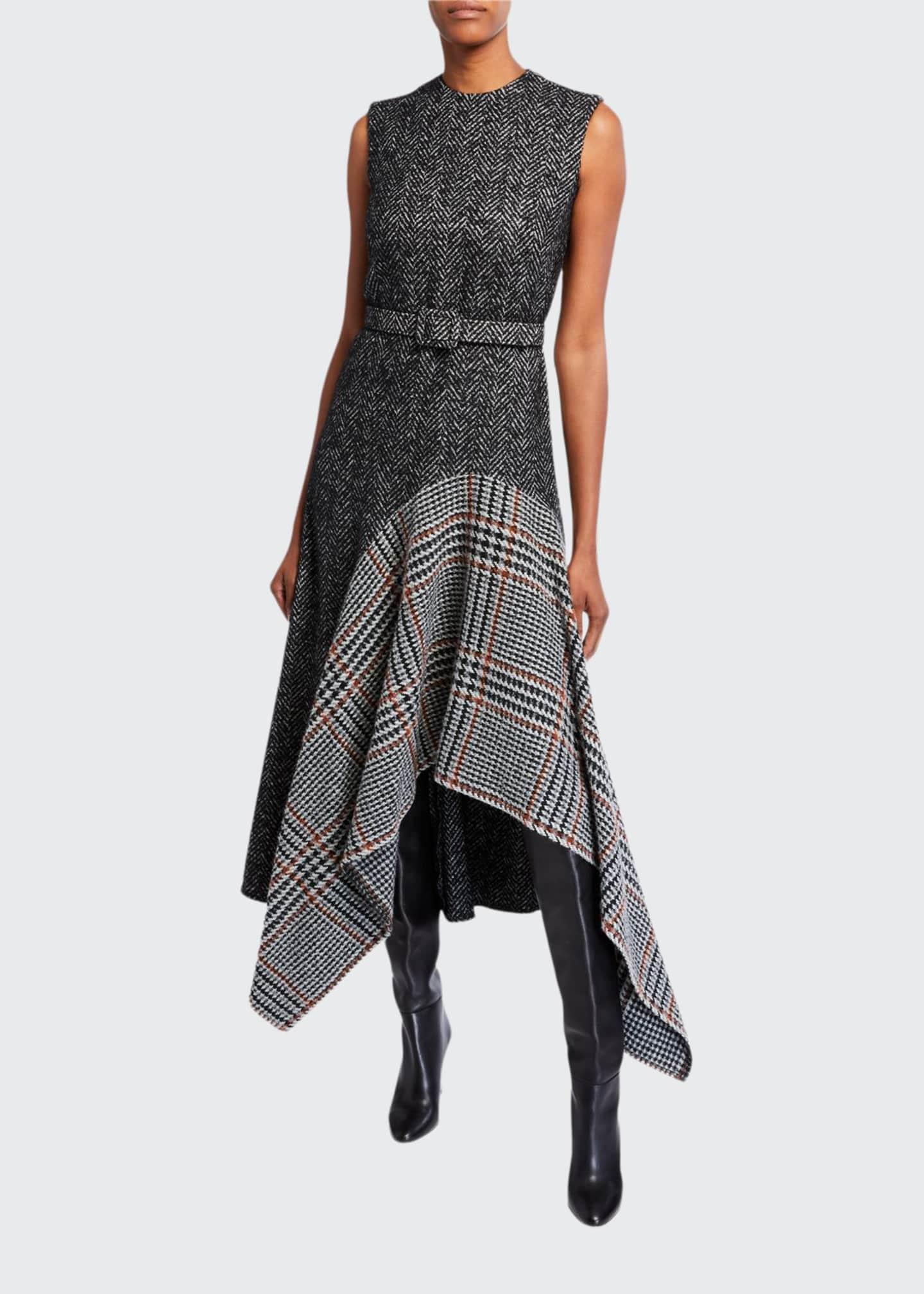 Oscar de la Renta Multiprint Wool-Silk Day Dress