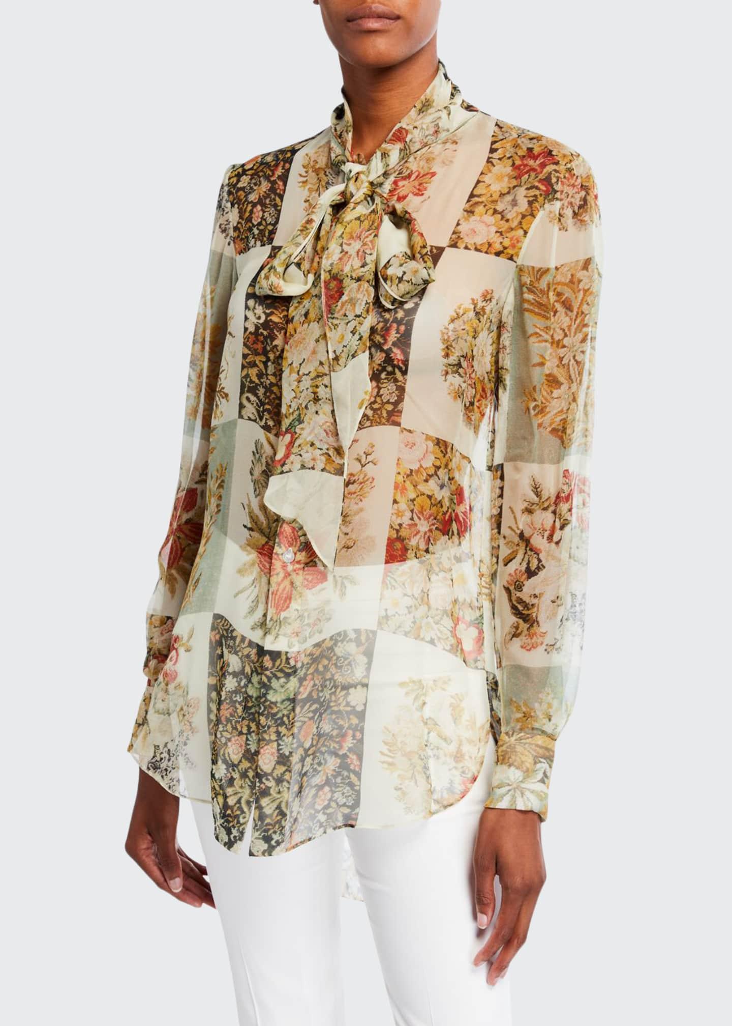Oscar de la Renta Floral Patchwork-Print Chiffon Tie-Neck