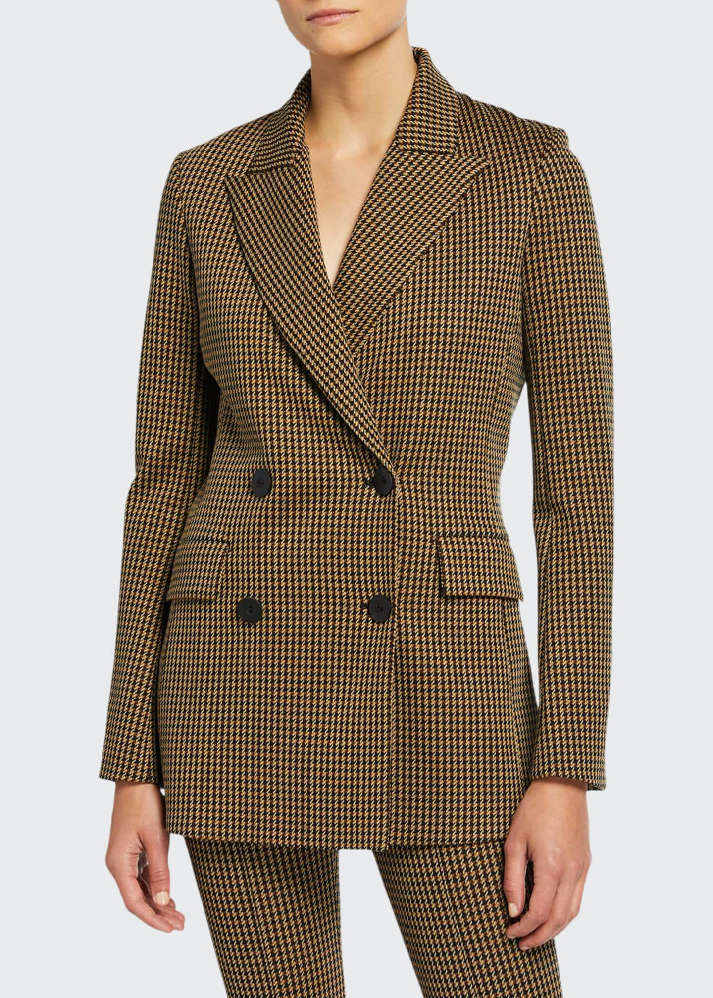 Rosetta Getty Houndstooth Double-Breasted Jacket with Peak Lapels