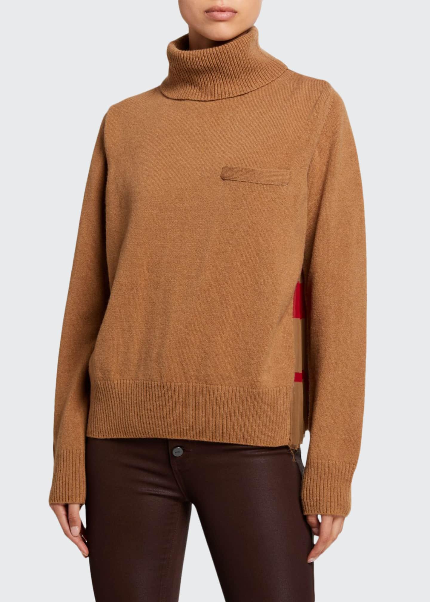 SACAI Solid Front Blanket Print Turtleneck Sweater