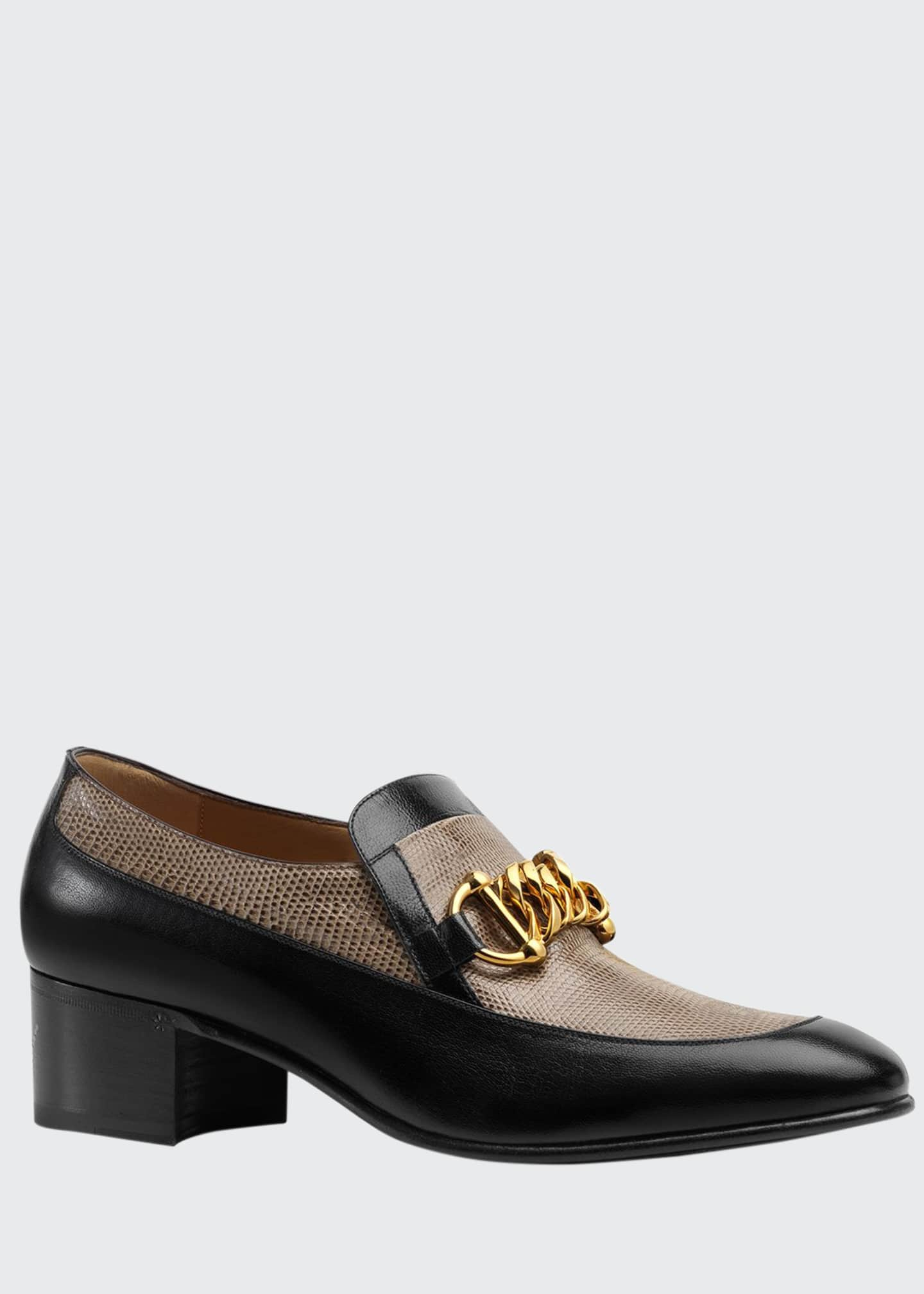 Image 1 of 4: Men's Ebal Horsebit Leather & Lizard Loafers
