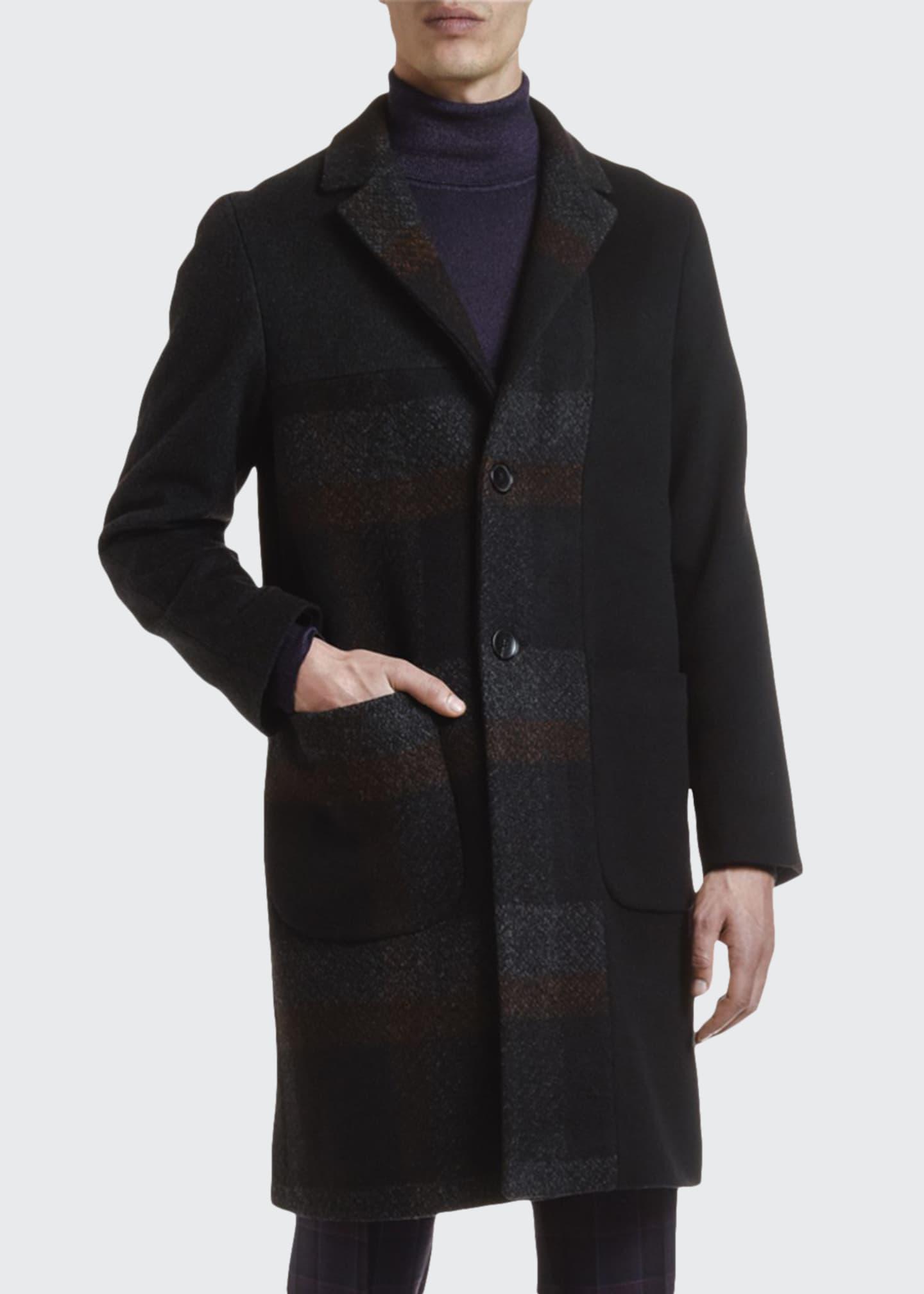 Etro Men's Easy Solid/Plaid Patchwork Overcoat