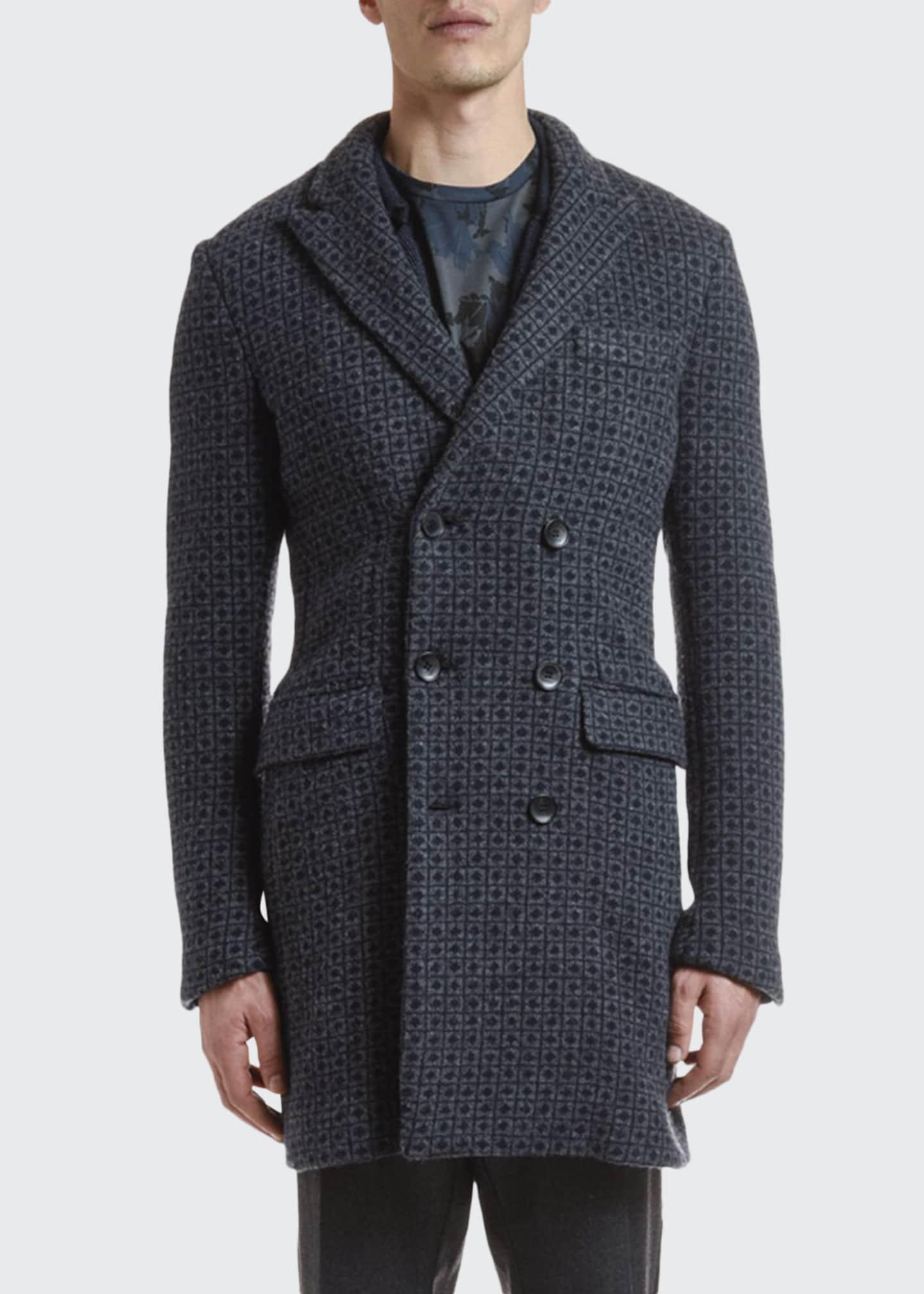 Etro Men's Medallion-Knit Wool Overcoat