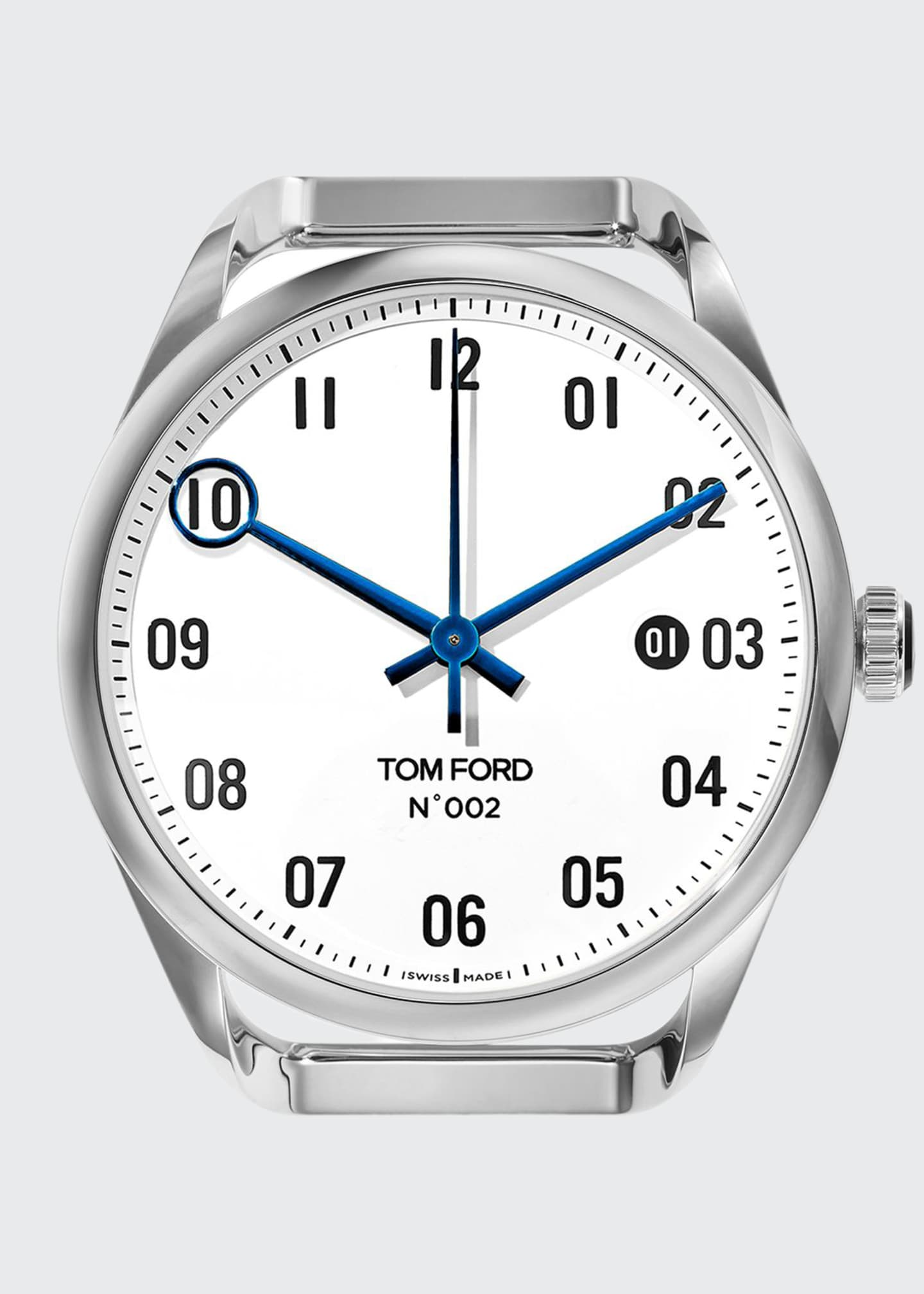 Image 1 of 1: Men's Automatic Round Polished Stainless Steel Case, White Dial, Large