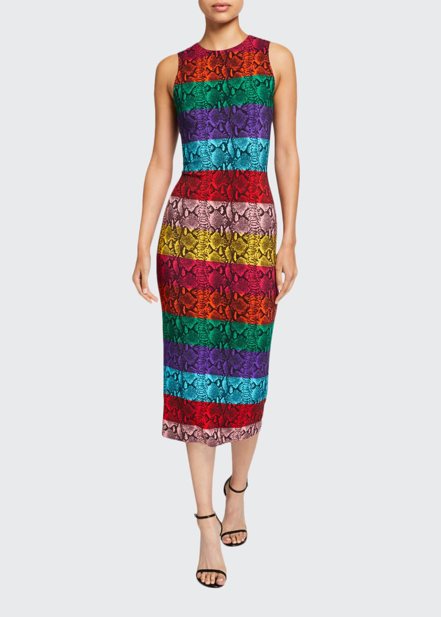 Alice + Olivia Delora Fitted Sleeveless Crewneck Dress