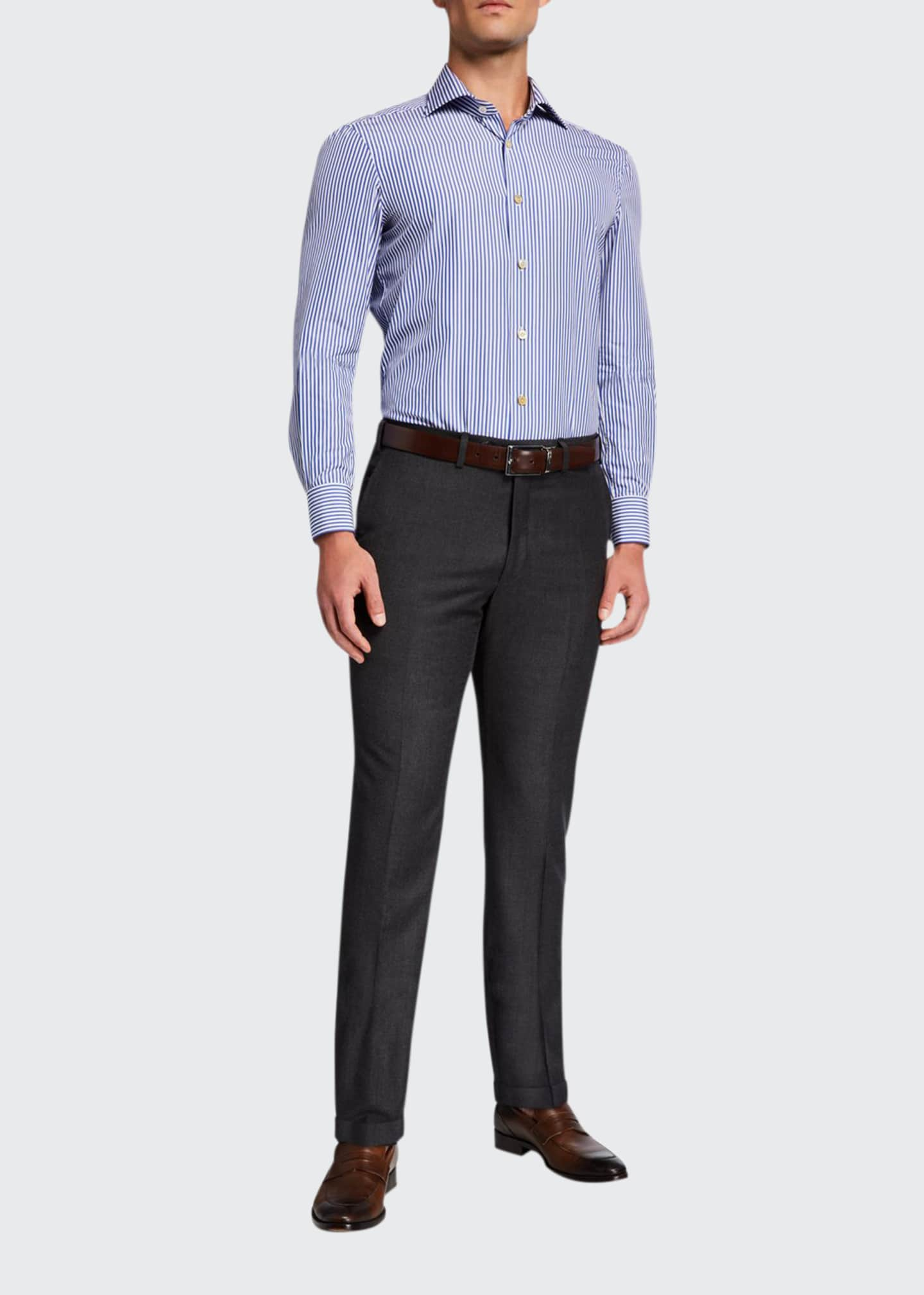 Image 1 of 3: Men's Wool Flat-Front Dress Pants, Charcoal