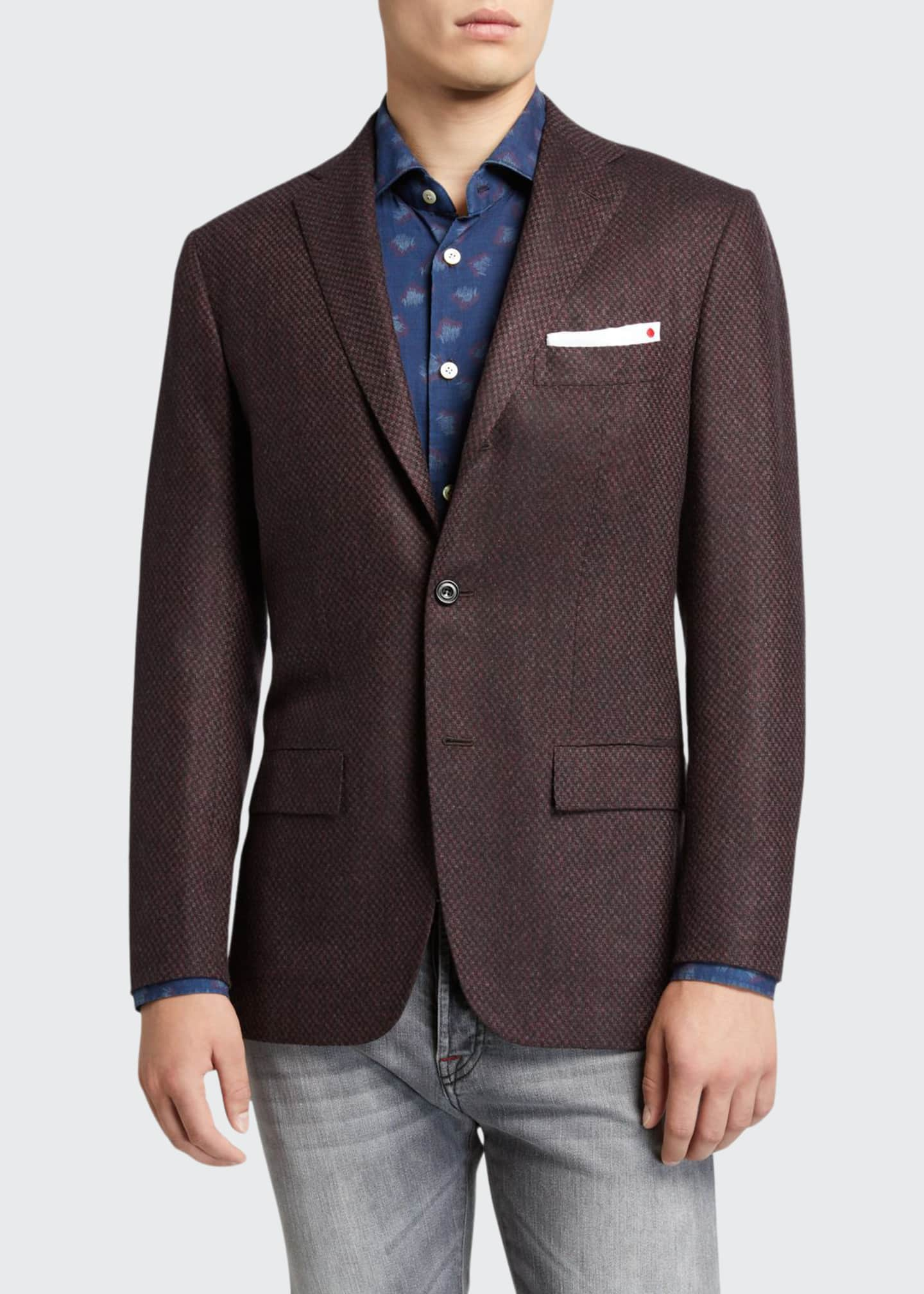 Image 1 of 3: Men's Tic-Pattern Two-Button Jacket