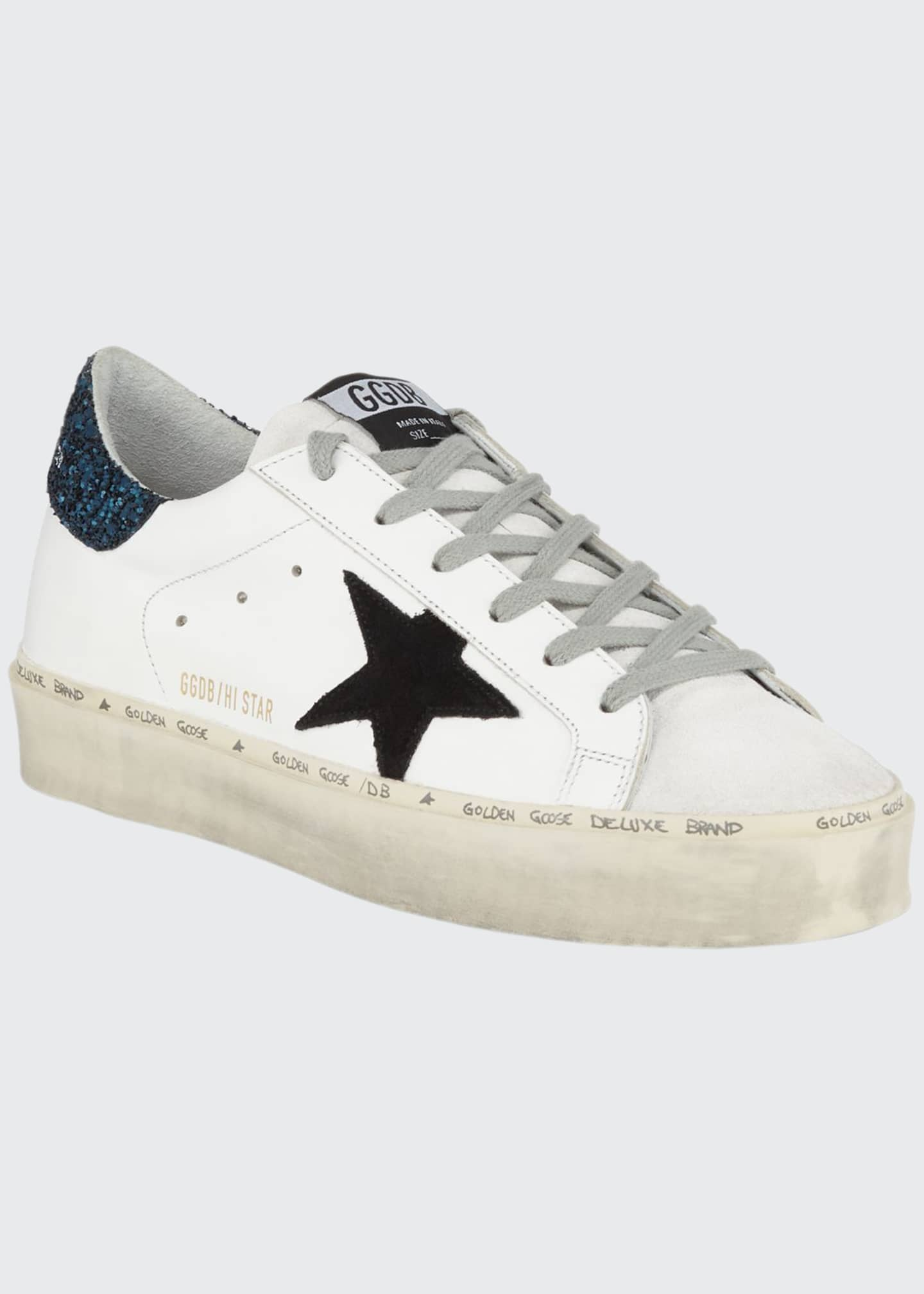 Golden Goose Hi Star Leather Sneakers with Glitter