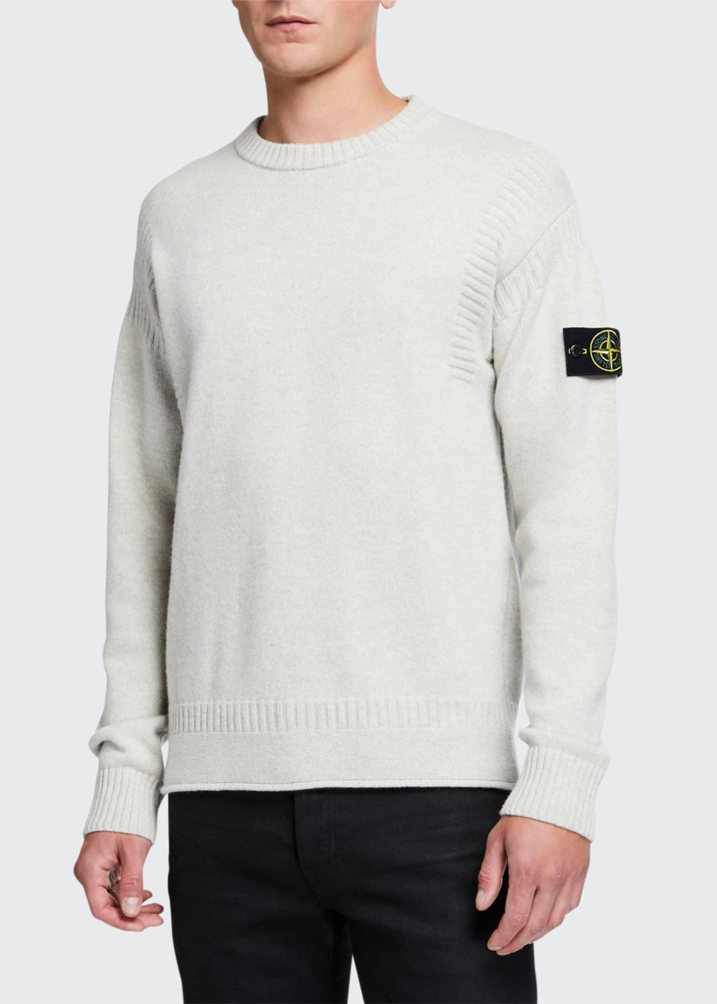 Stone Island Men's Solid Wool Sweater w/ Rib
