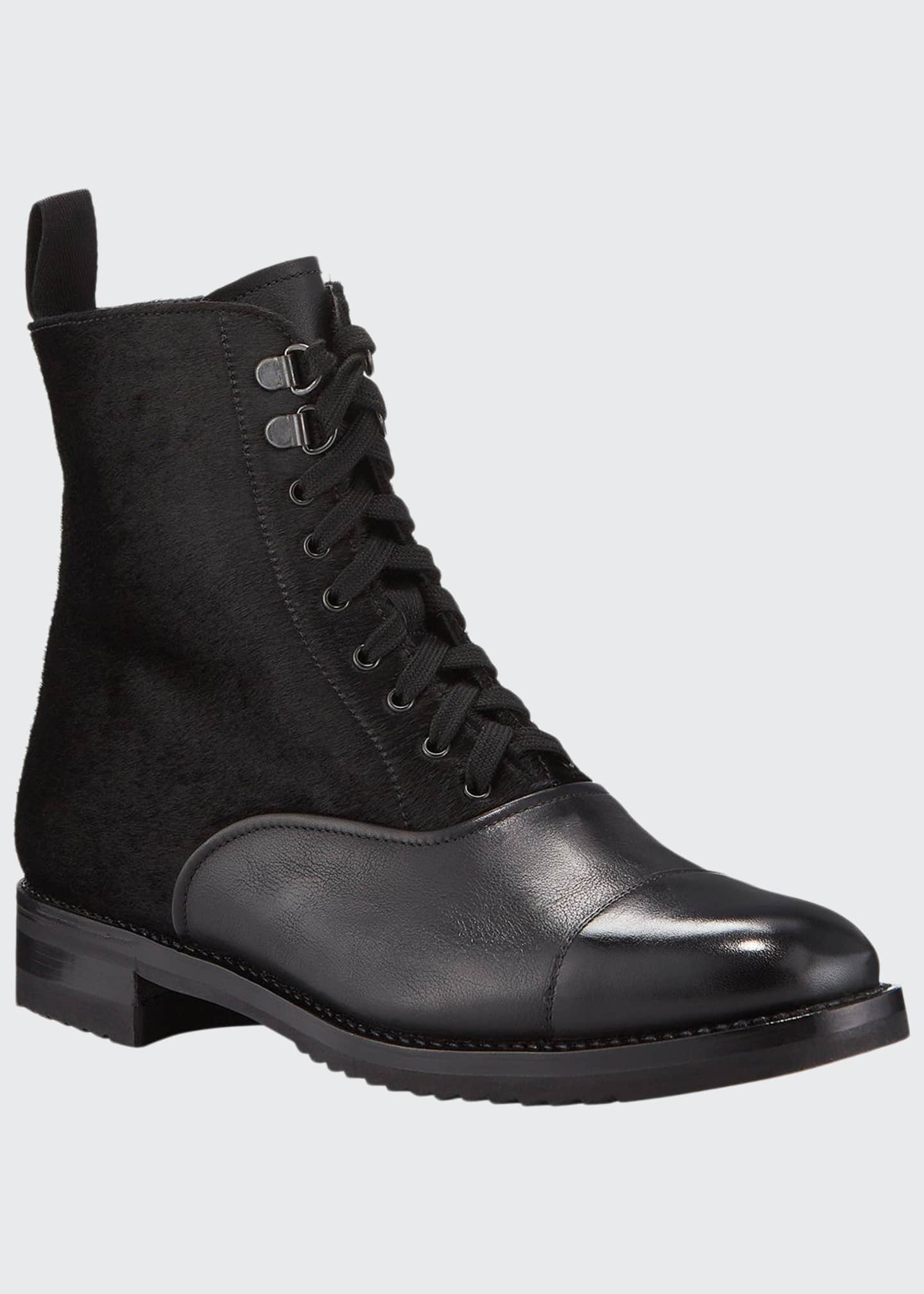 Gravati Mixed Leather Lace-Up Hiker Boots
