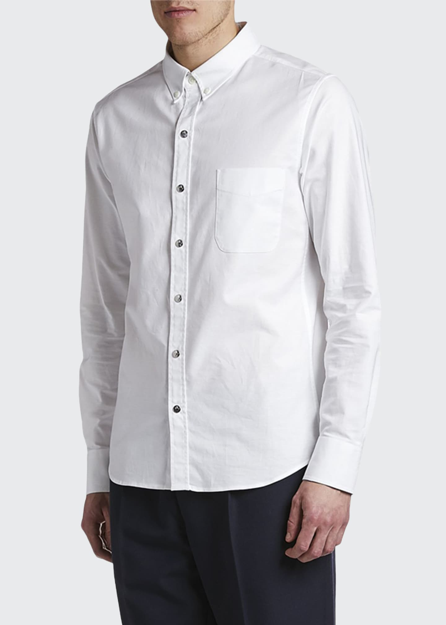 Moncler Men's Solid Oxford Sport Shirt with Snaps