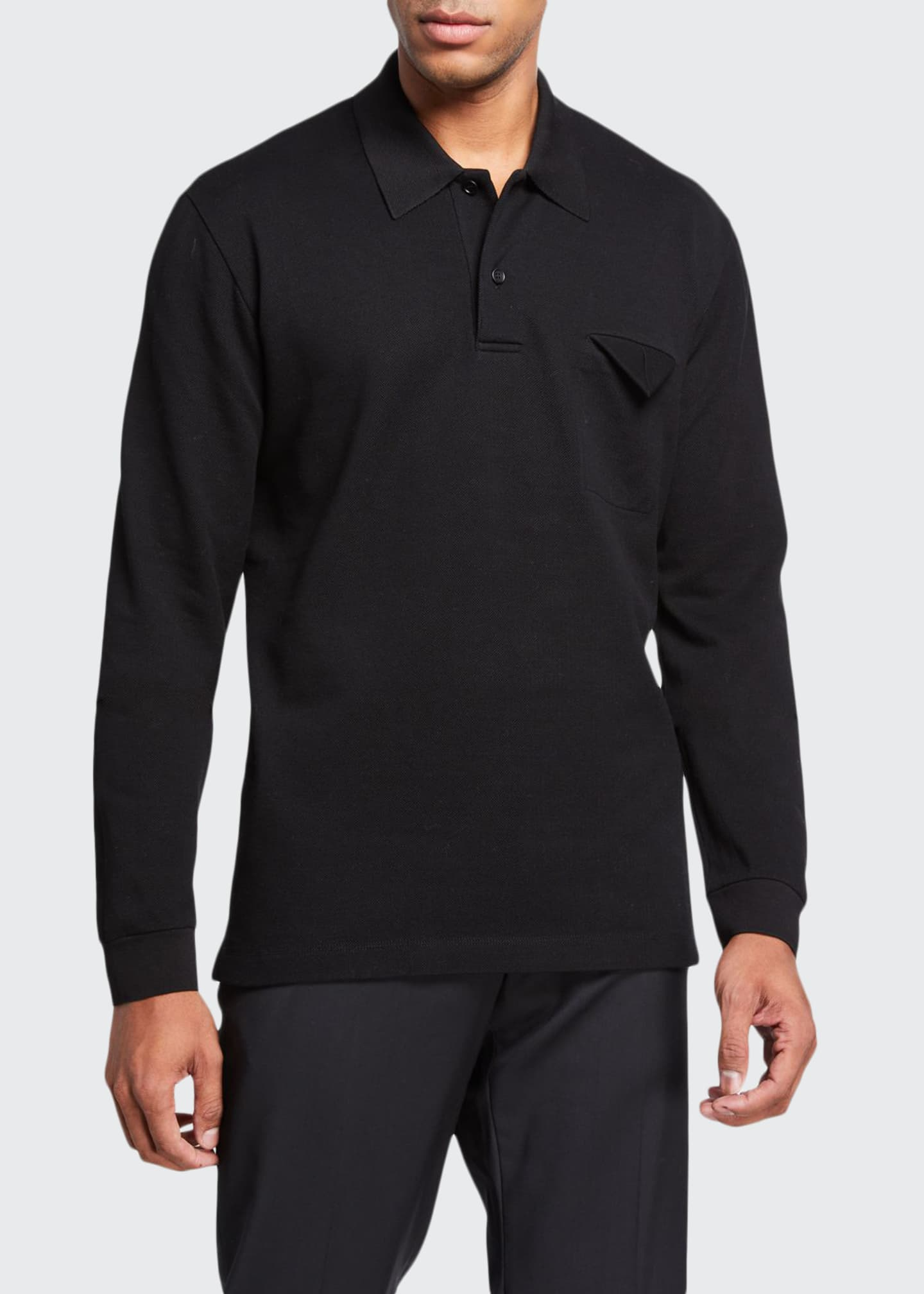 Bottega Veneta Men's Long-Sleeve Pique Jersey Polo Shirt