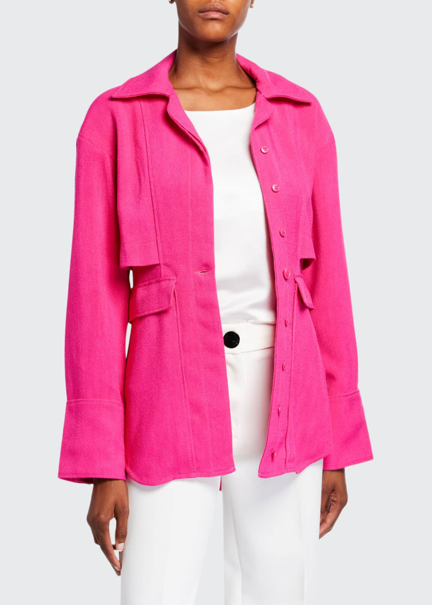 Jacquemus Monceau Trench-Style Button-Front Shirt